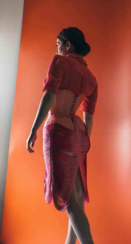 Skirt:  Made By Niki    Corset: Pop Antique   Model: Victoria Dagger   Photo © Joel Aron