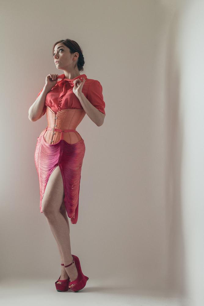 Skirt:  Made By Niki  | Corset: Pop Antique | Model: Victoria Dagger | Photo © Joel Aron