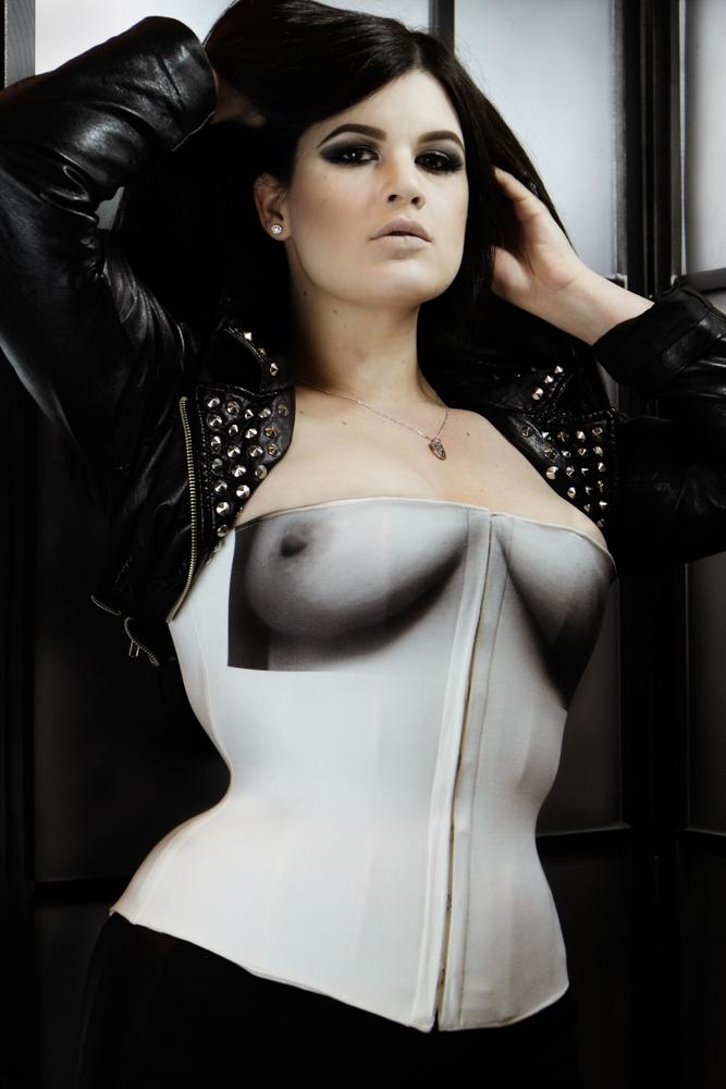 "Corset:  Pop Antique ""Tits"" T-Shirt Corset  | Model: Corsetiere Lowana O'Shea of  Vanyanis  | Photo © Jenni Hampshire"