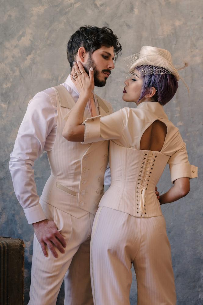 "Dark Garden Couture: Dark Garden ""Edward"" corset vest & Pop Antique for Dark Garden ""Shirtwaist Corset"" | Millinery: Kalico Delafay | Models: James Alvarez & Lex Lima | Photo © Loic Nicolas"