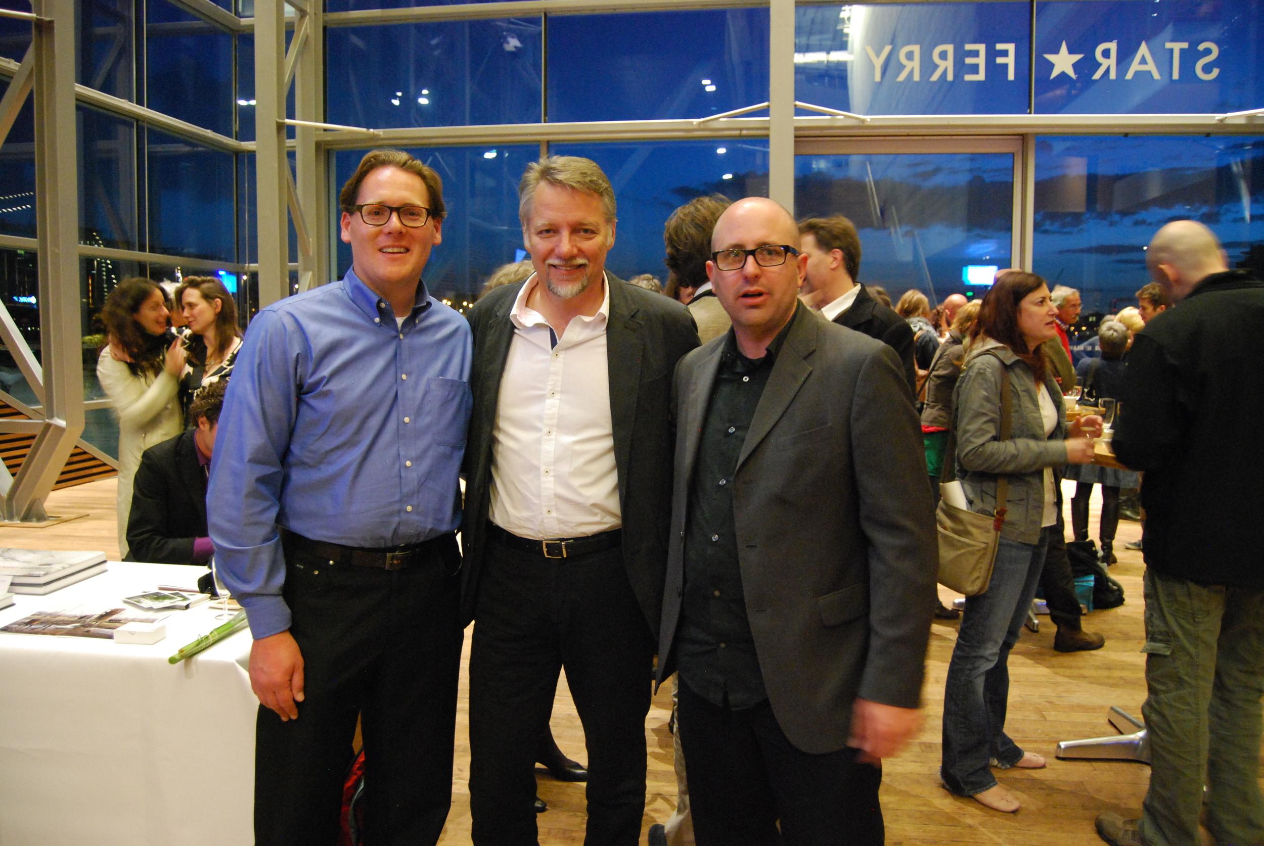 L to R: Stephen Tuttle, Edward Burtynsky, Steven Ricks; WRENCH premiere at Muziekgebouw, AMS, 5.22.11