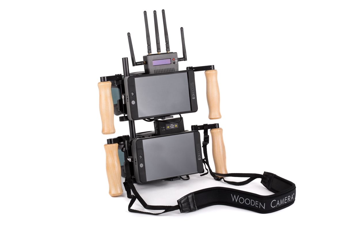 """V2 Dual Cage can be rigged side by side & can be fitted with any monitors 5"""" - 9"""" plus Teradek"""
