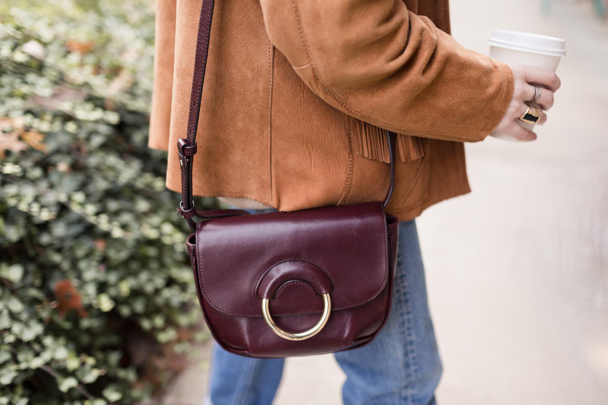 Eldridge Edit Fringe Stride Anna E Cottrell Fashion Blogger Fall Styling Janessa Leone Hat Vintage Suede Jacket Vince Boot Levis 501 MGB Photo 5.jpg