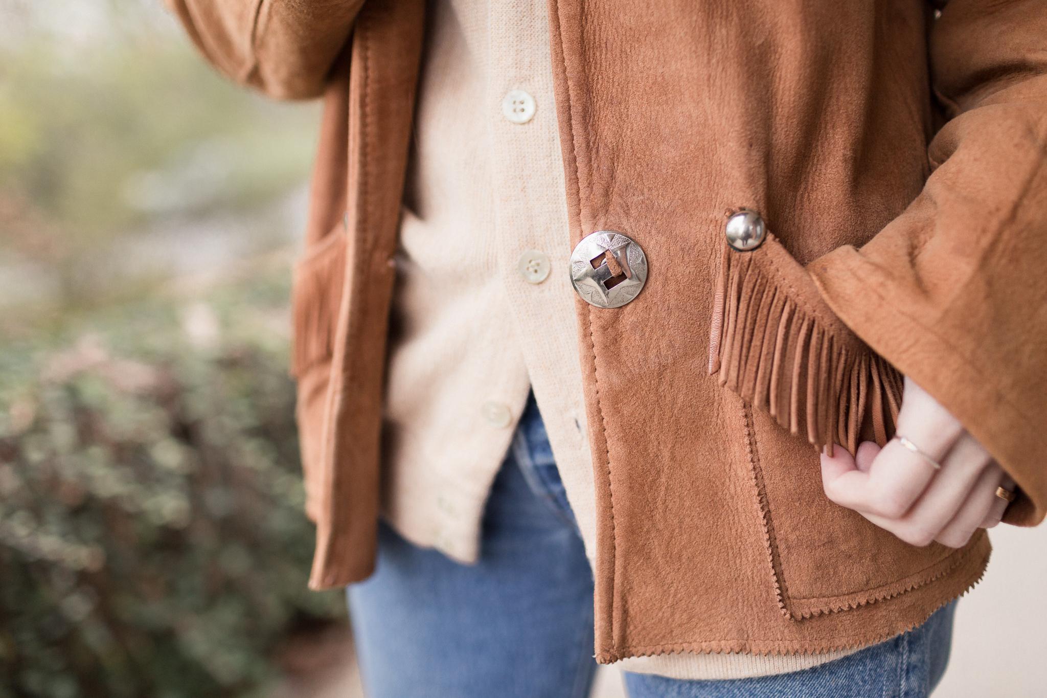 Eldridge Edit Fringe Stride Anna E Cottrell Fashion Blogger Fall Styling Janessa Leone Hat Vintage Suede Jacket Vince Boot Levis 501 MGB Photo 11.jpg