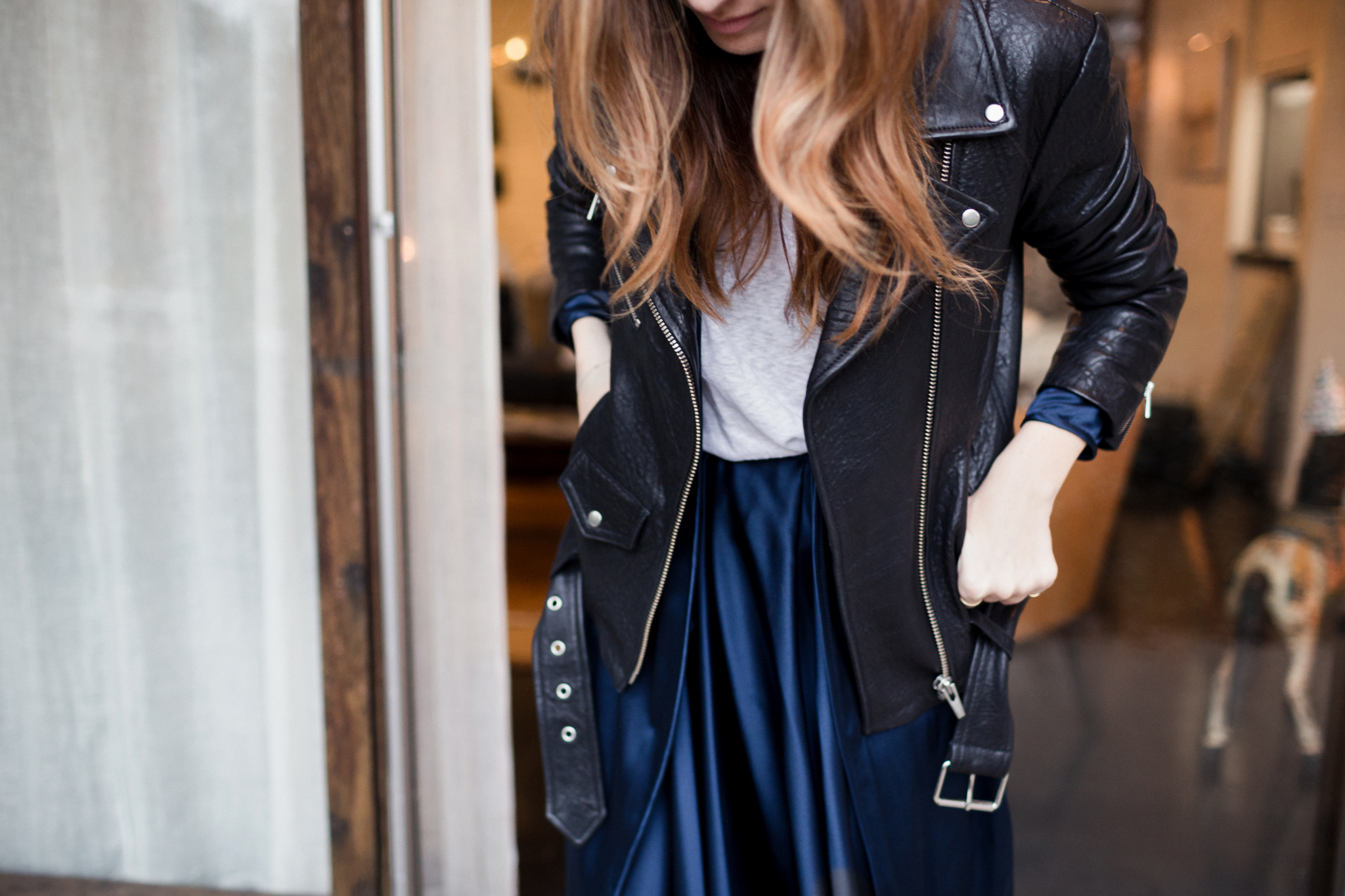 Eldridge Edit Fashion Blogger Anna E Cottrell Navy Silk Skirt Veda Leather Black Jacket Vince Boot MGB Photo 8.jpg