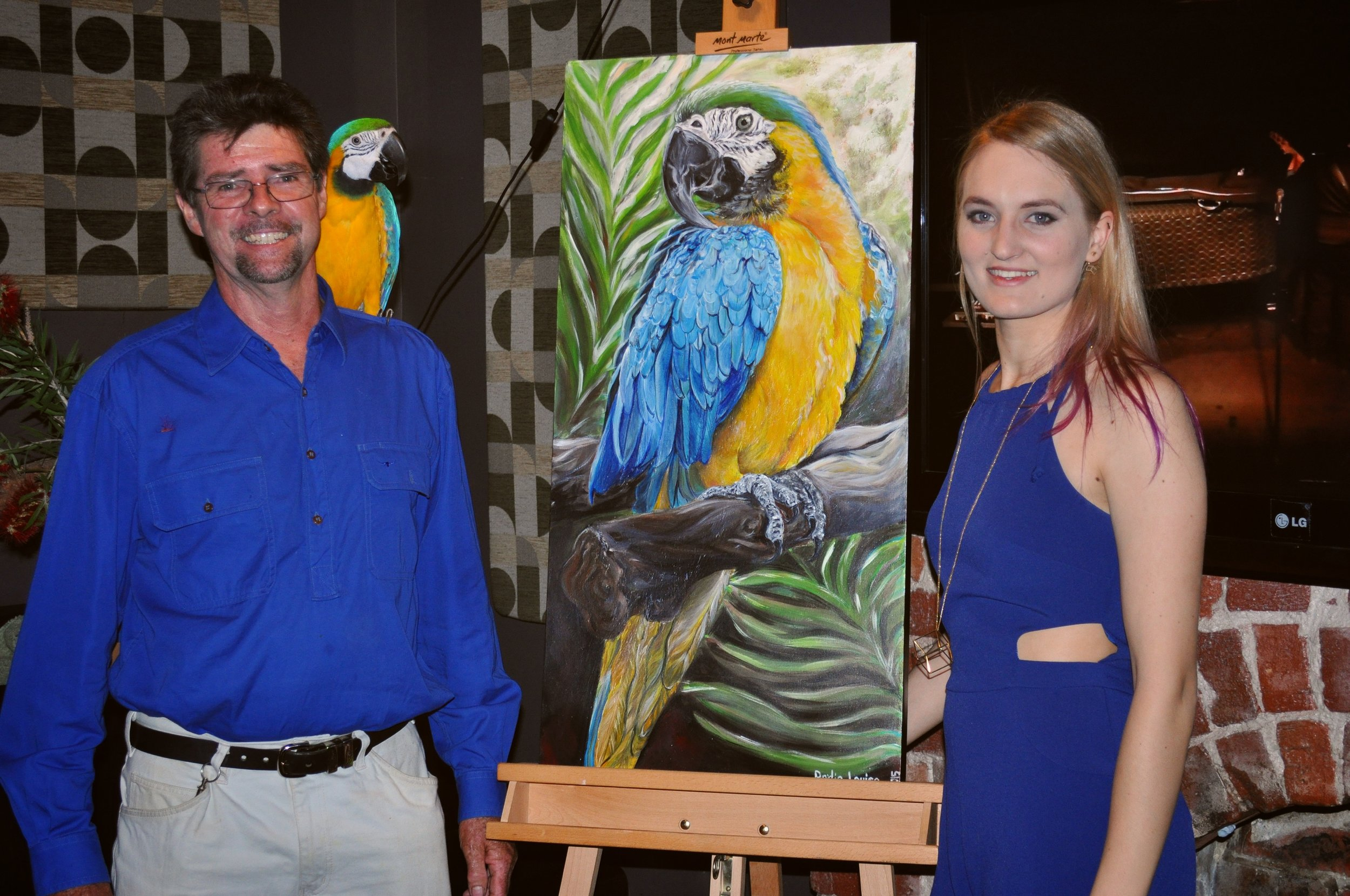 The special guest of the night, Kenobi, the Macaw