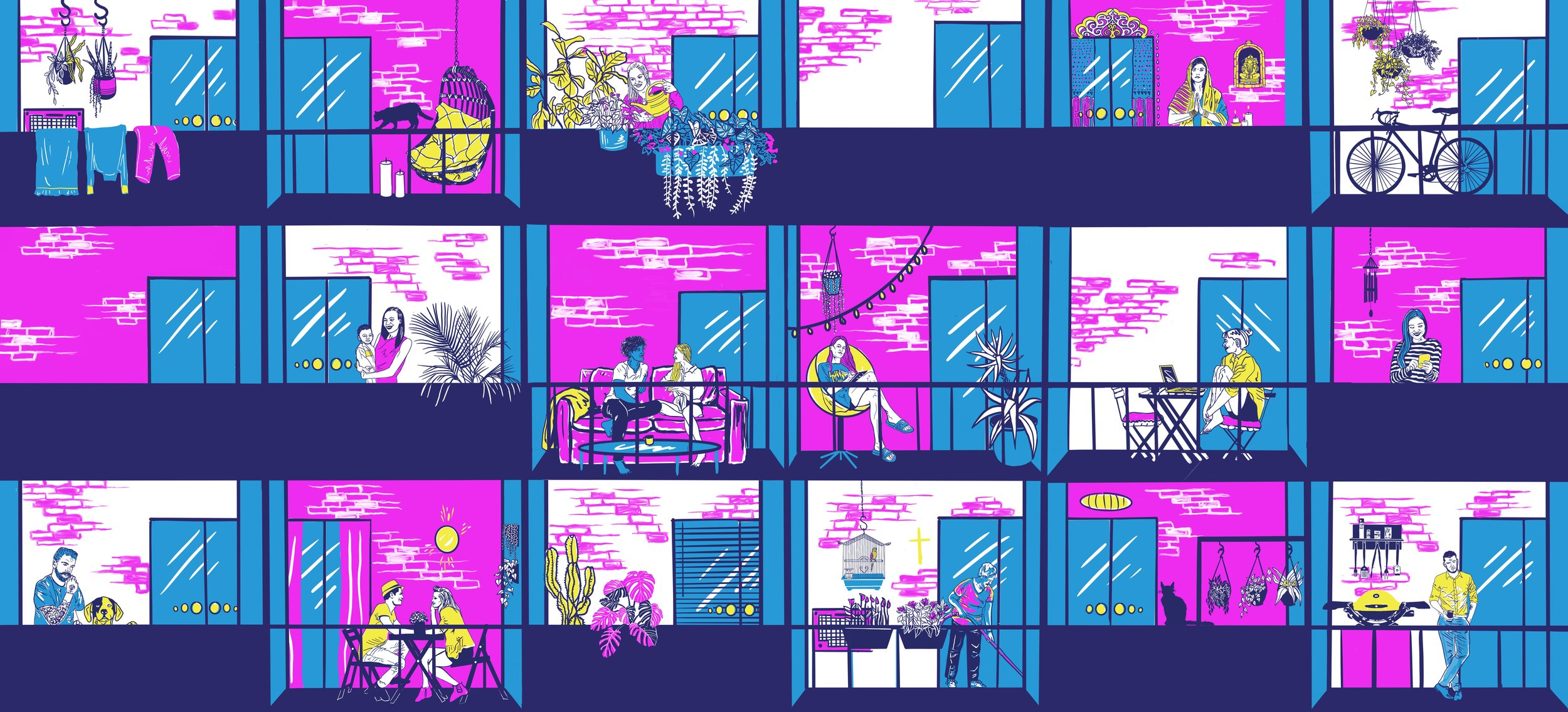 Apartment style artwork for Hepatitis C WA Campaign 2019