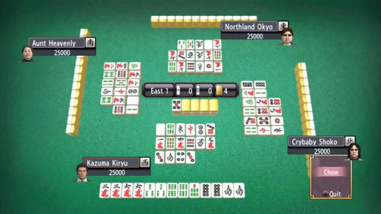 Japanese style Mah-jong can be enjoyed in numerous Mahjong parlors in  Yakuza  games