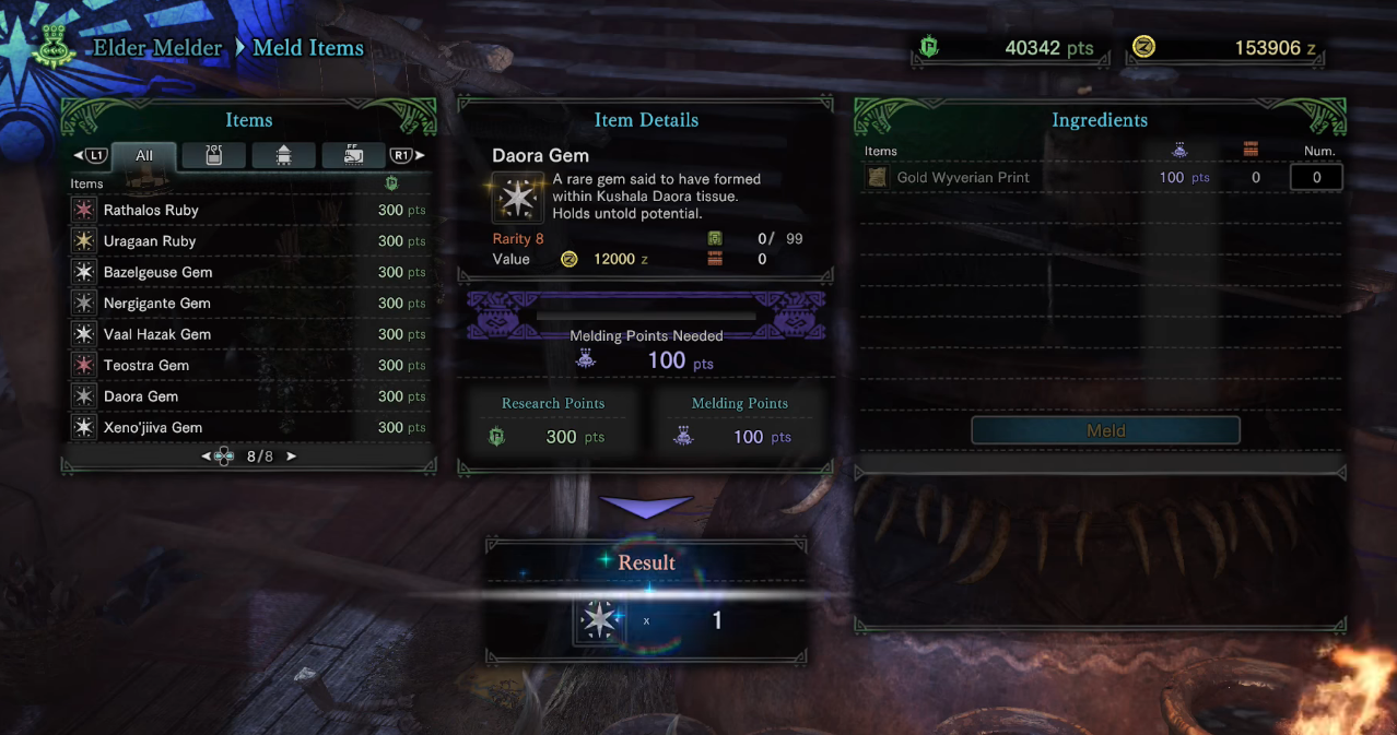 Melding items is also a good way to get specific consumables through low tier materials rotting in your storage.