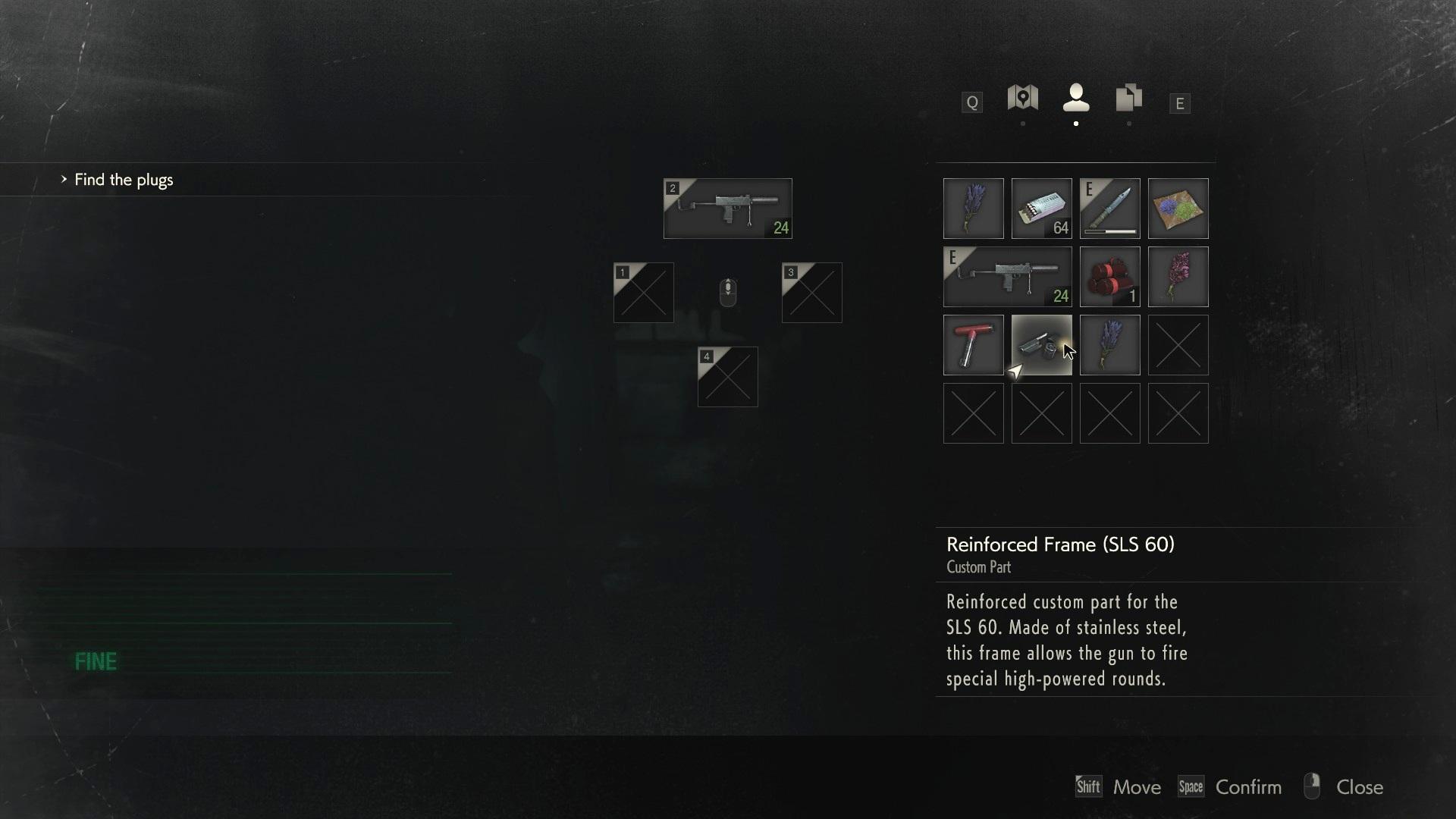 Resident Evil 2 inventory.