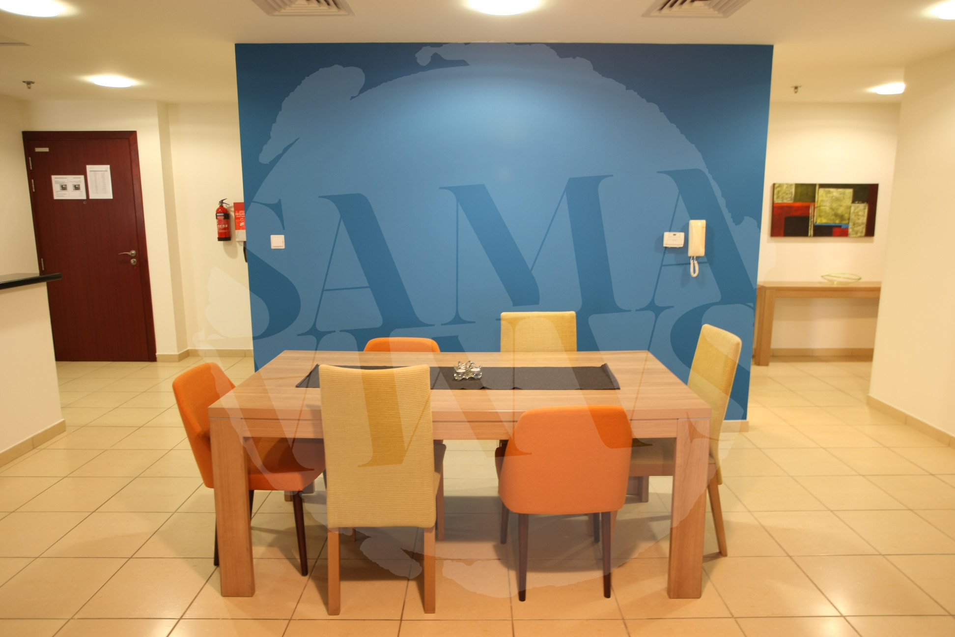 The apartment has a large dining area to enjoy your meals or use as a convenient work space
