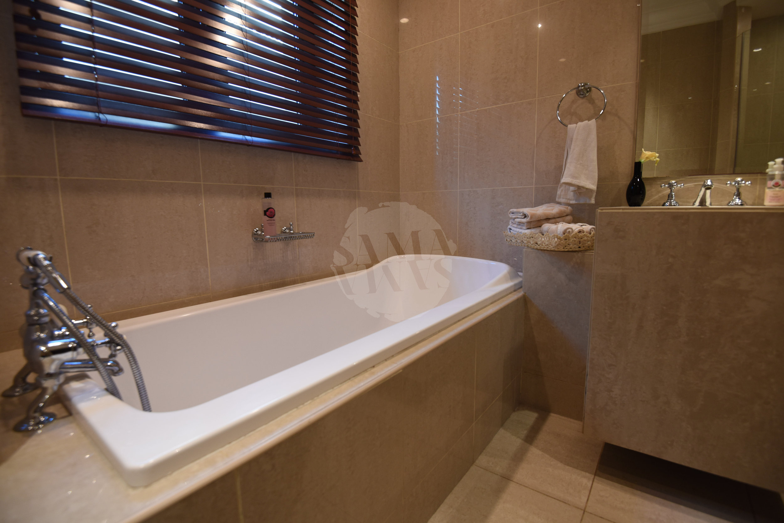 The luxurious bath is the perfect place to finish a long day