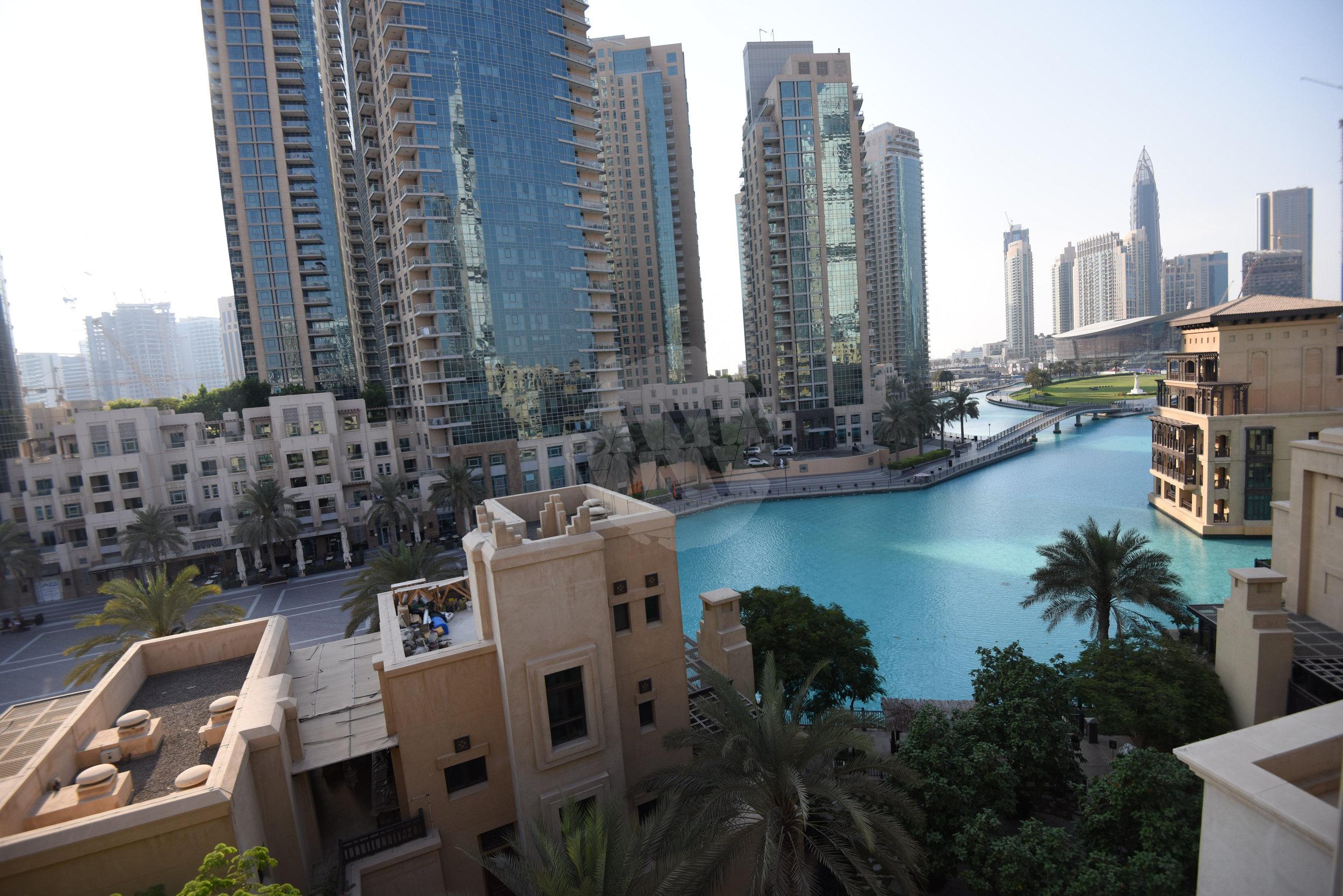 The balcony offers stunning views of Burj Plaza and overlooks Burj Park