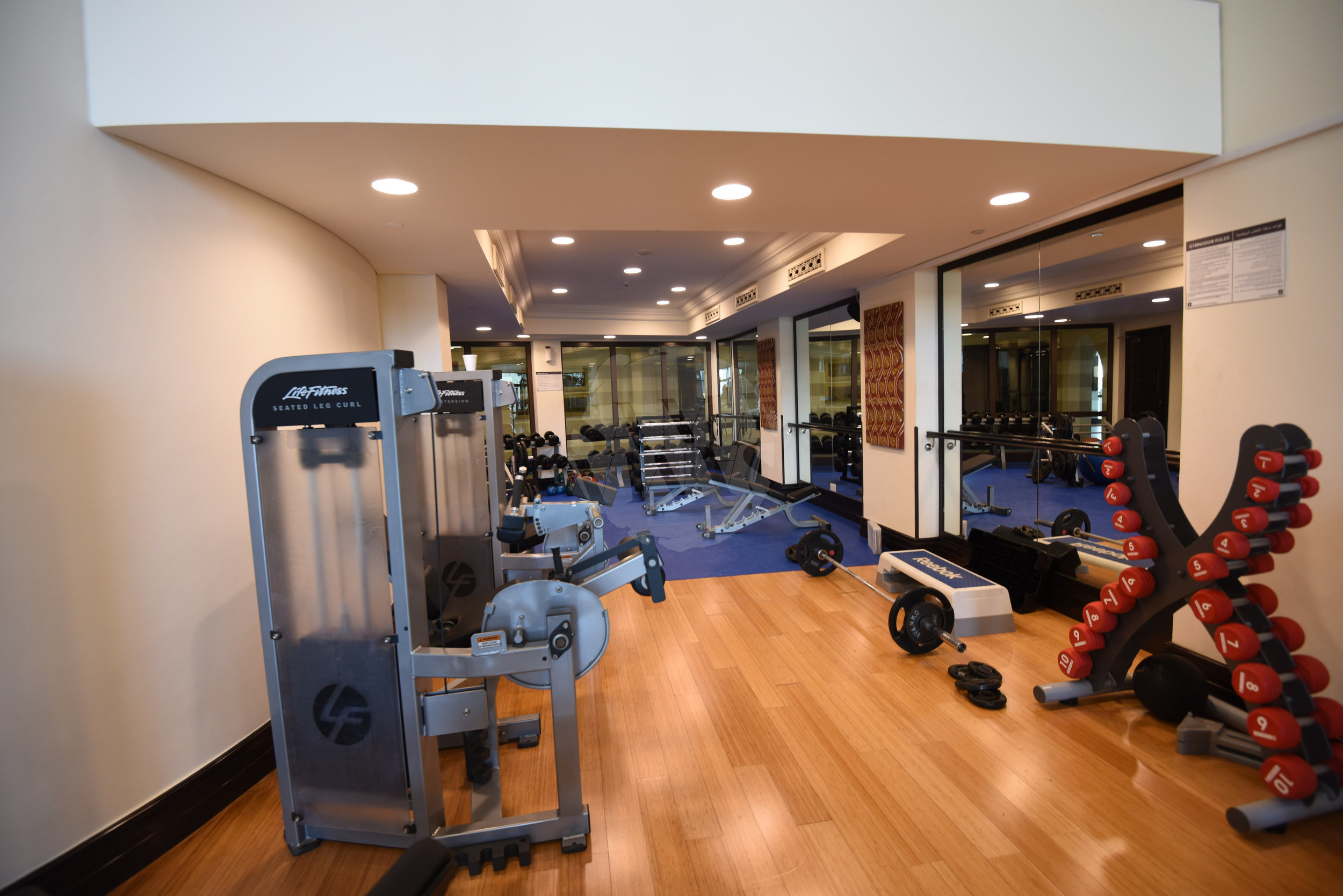 There is a state of the art gym, with the latest fitness equipment for cardio workouts, weightlifting or stretching exercises
