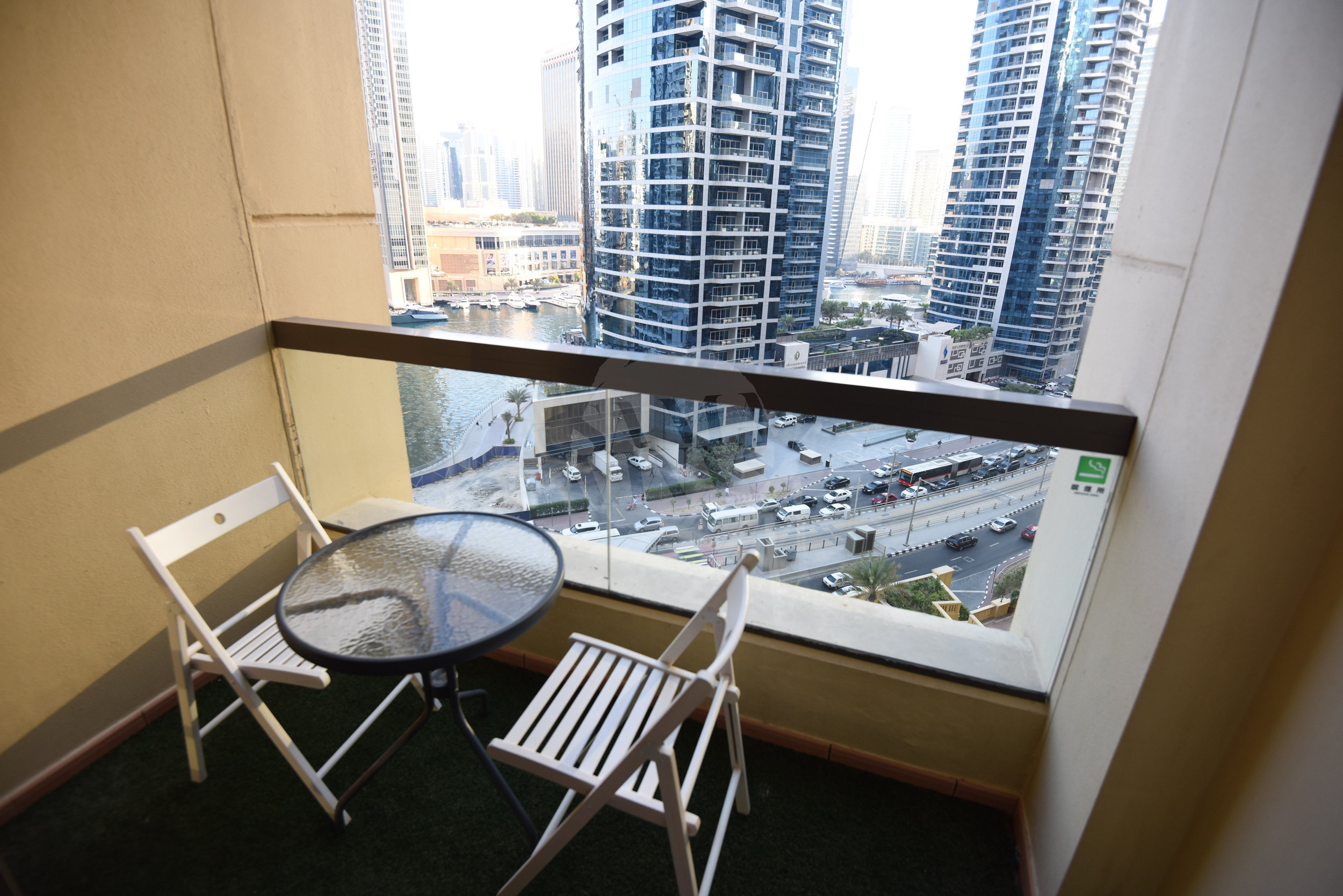 The balcony has enough room to seat four and has fantastic views of the world-famous Dubai Marina