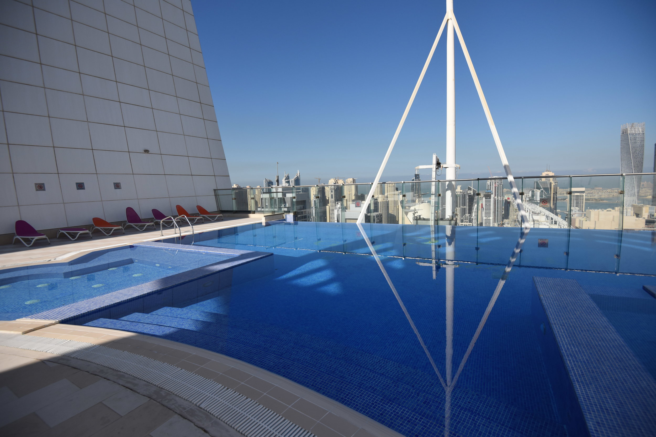 Stunning roof top swimming pool and view to get a great tan and watch the city from above