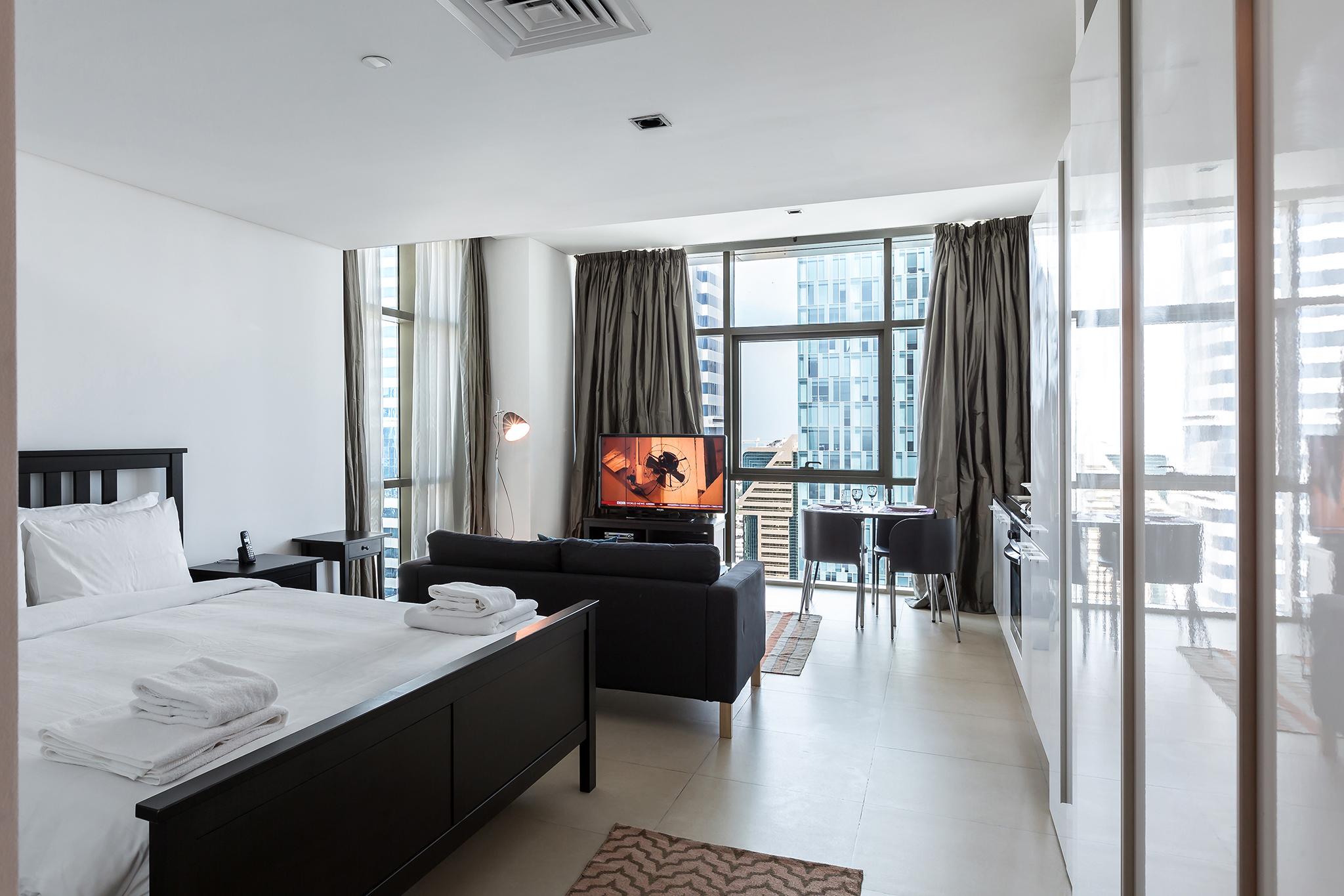 The studio is a corner unit of one of Dubai's iconic sky scrapers