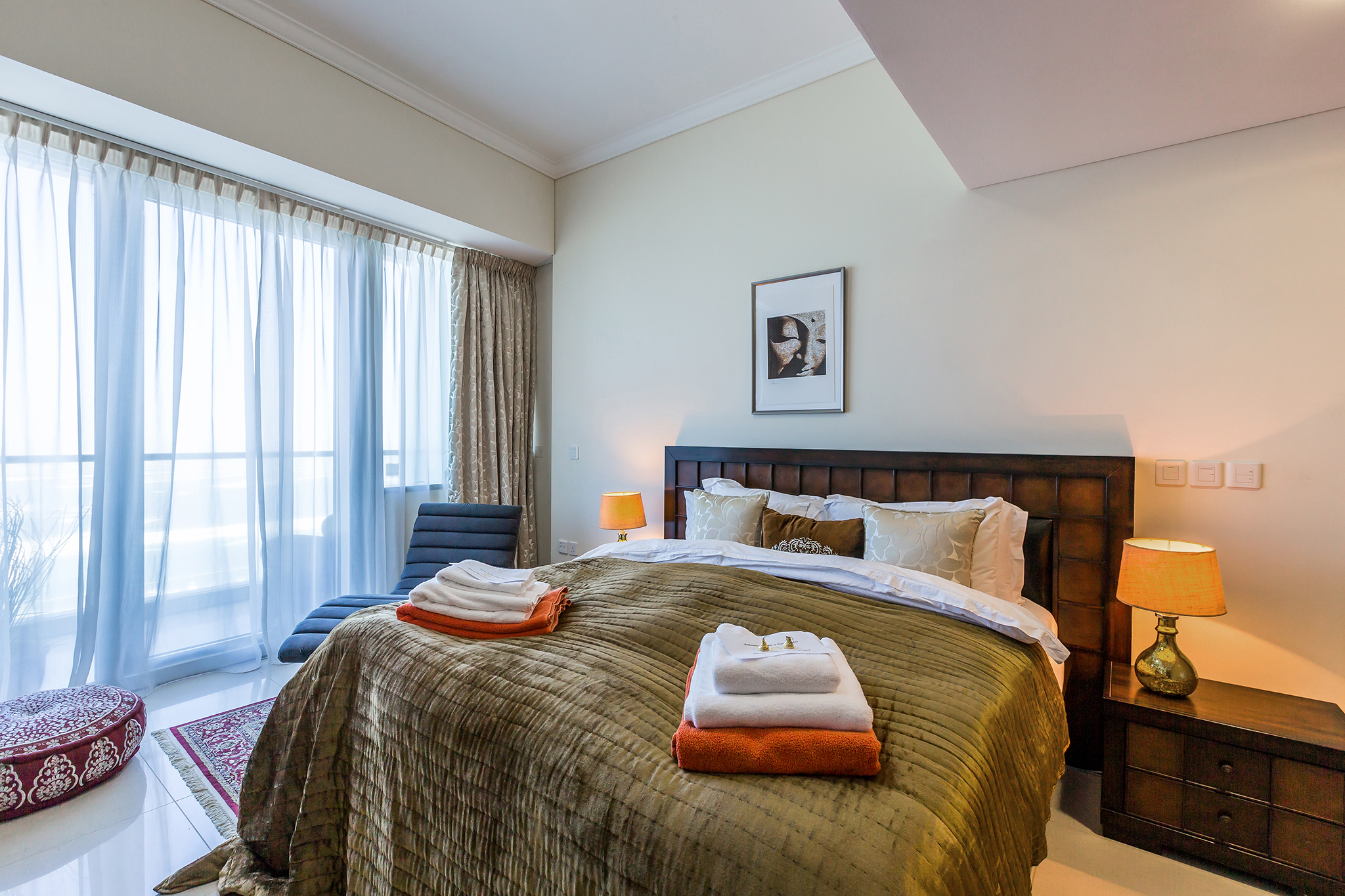 The master bedroom has a huge King-Size bed, and is fully furnished to make your stay even more comfortable