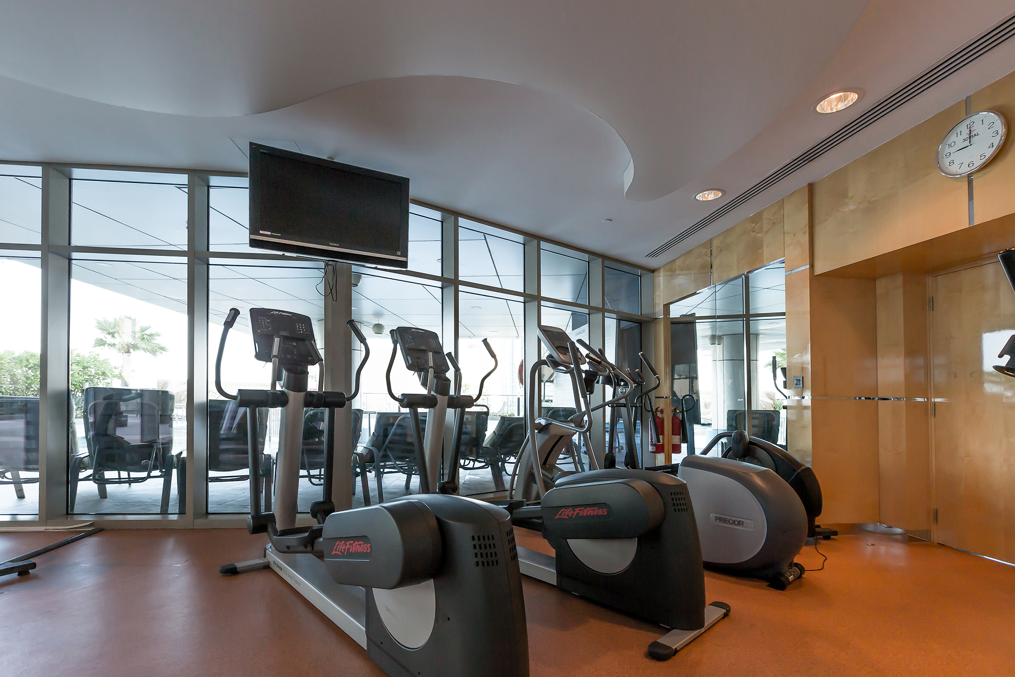 There is a fully equipped gym in the property, perfect for cardio, weights and stretching exercises