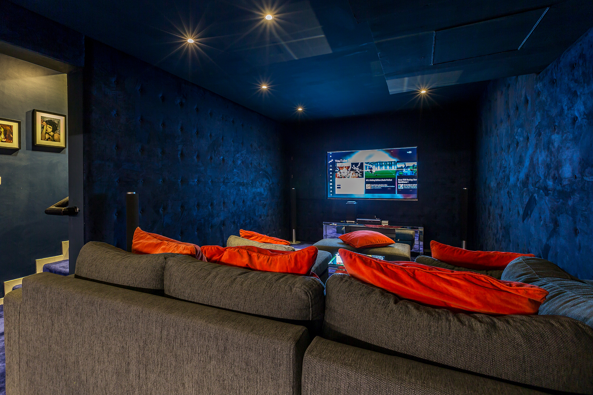 Subterranean Cinema Room, fully sound-proofed with large screen and surround sound