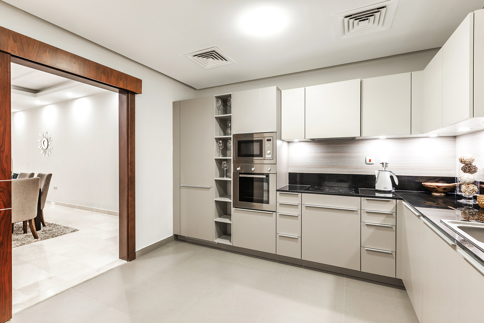 Modern, fully equipped kitchen area