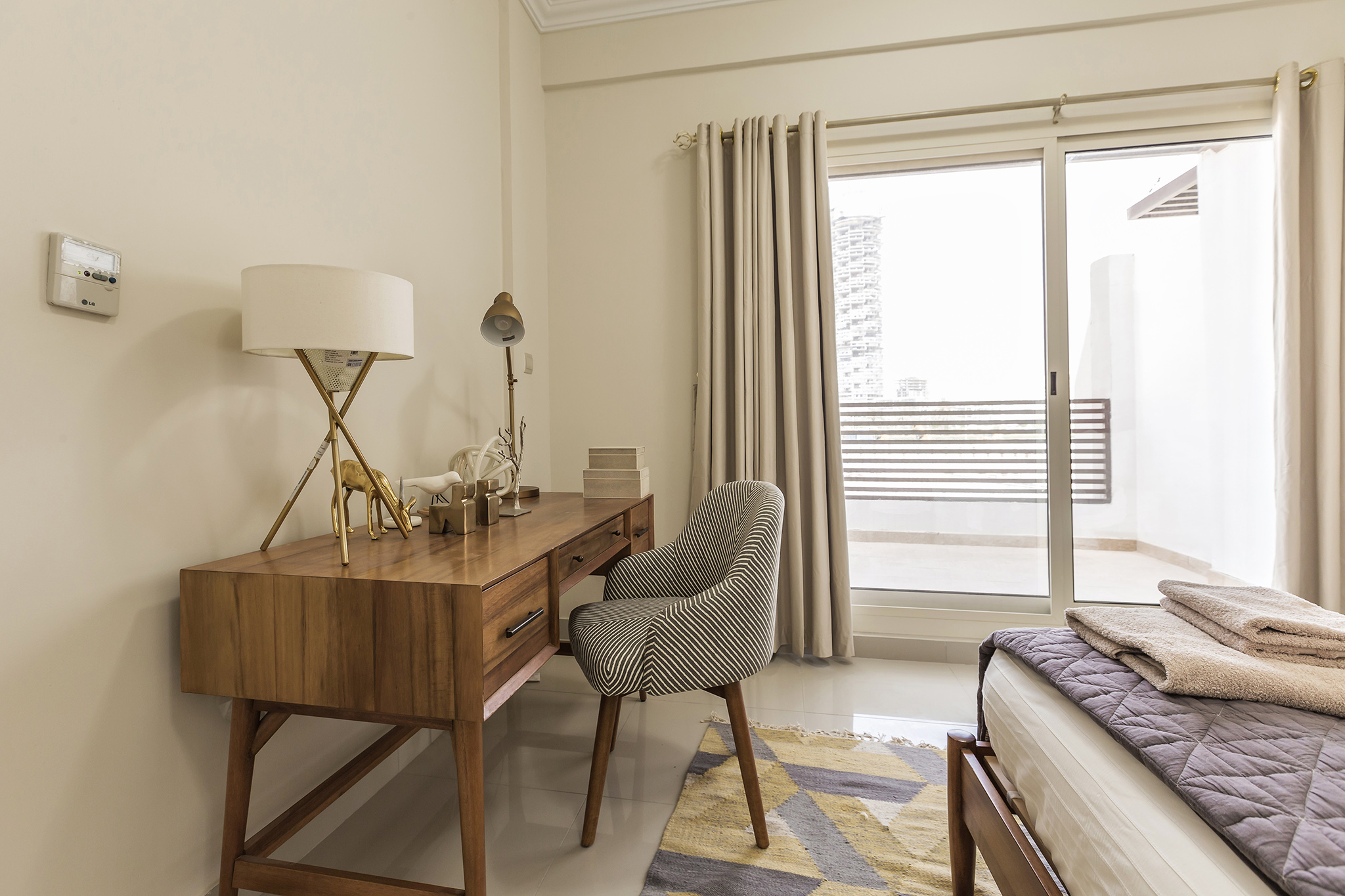Stylish bedroom with lovely working space