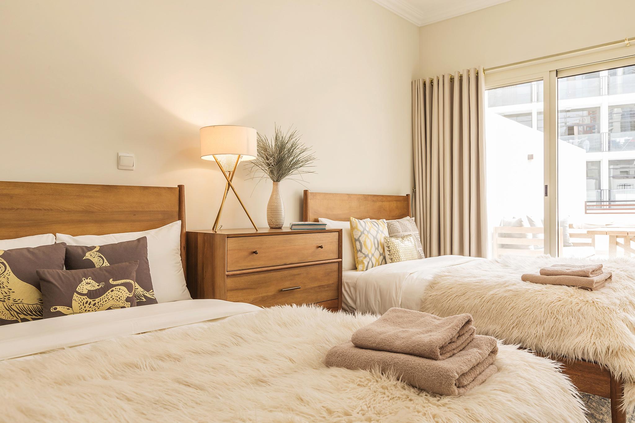 Twin bedroom with lavish design