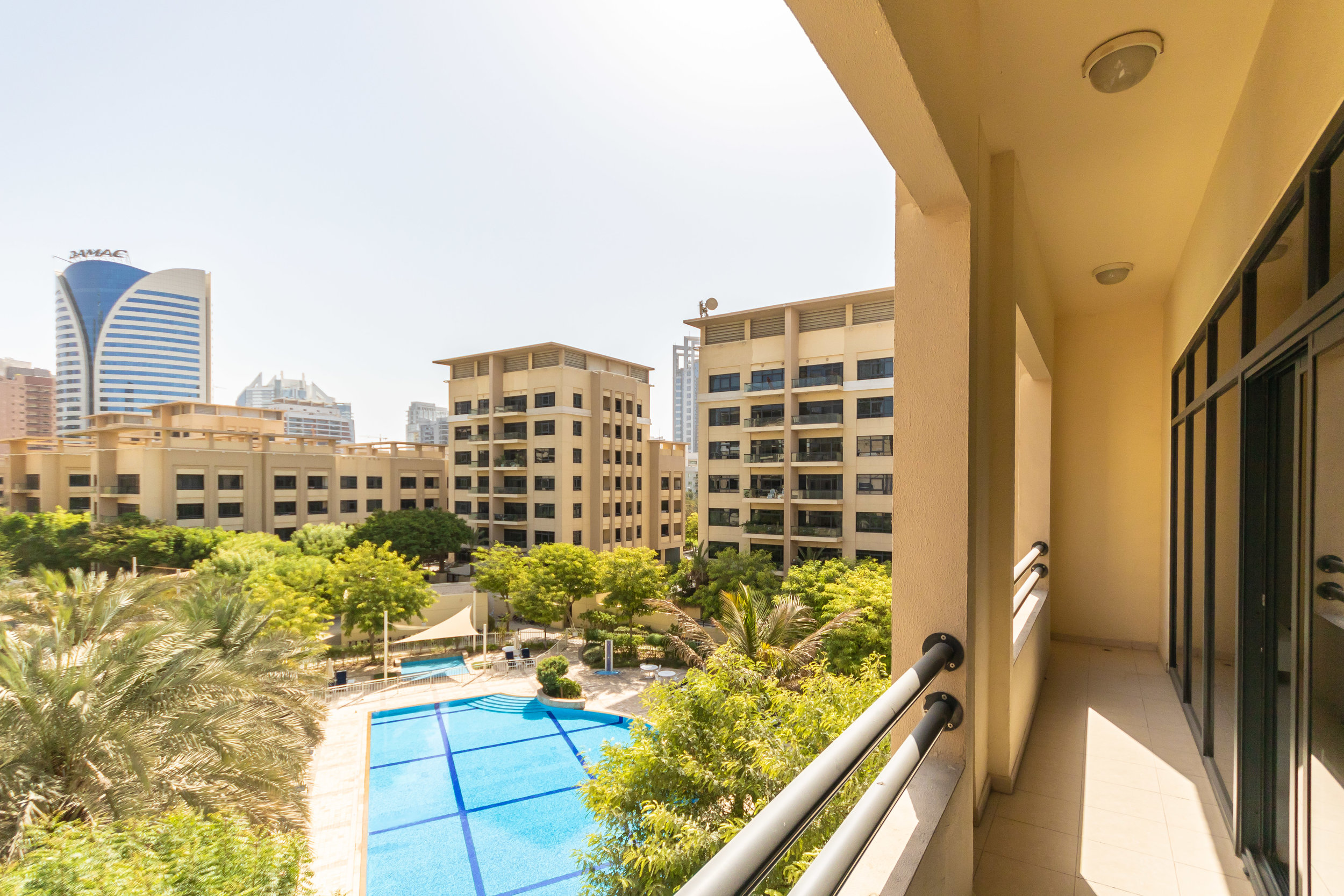 Balcony with beautiful pool view