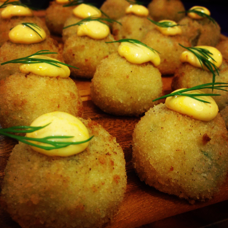 Parmesan Risotto Croquettes with Smoked Tomato Aioli