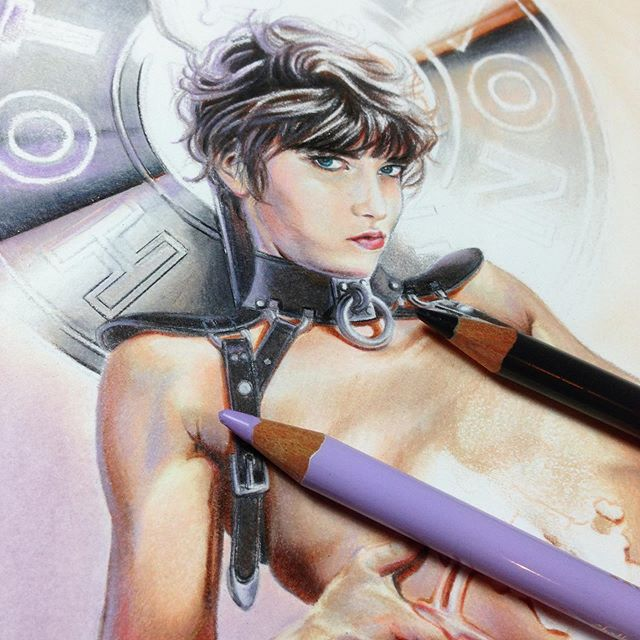 Determined to finish this piece. . . . #art #artist #draw #drawing #sketch  #pencildrawing #illustrator #illustration  #pencilart #fashionillustration #instaart #instaartist #melbourneart #coloredpencil #colouredpencil  #lowbrowart  #traditionalart #androgynous  #AustralianArtist #figuredrawing #portraitart #fabercastell #panpastel #holbeinpencils