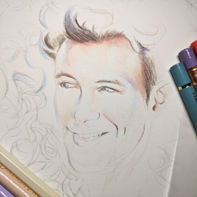 It begins! New piece finally hits paper, one of the largest I've attempted at around 4 times the size of my usual works but I found a frame and just had to make him fit. . . . #sketch #drawing #fabercastell #carandache #holbeinpencils #traditionalart #pencilart #colouredpencil #coloredpencil #workinprocess #portraitart