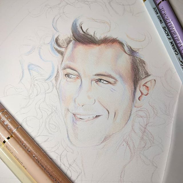 The face work continues. Weird working on a face so large in pencils, so used to something a quarter this size. Going to need to make a plan for the curls though, just throwing colours at him for the moment and seeing what happens! . . .  #art #artist #draw #drawing #illustration #maleart #fashionillustration #inktober  #contemporaryart  #fabercastell  #lowbrowart #pinupartist #figuredrawing #melbourneart #AustralianArtist #coloredpencil #pencilart #australianartist #beautifulbizarre @fabercastellglobal