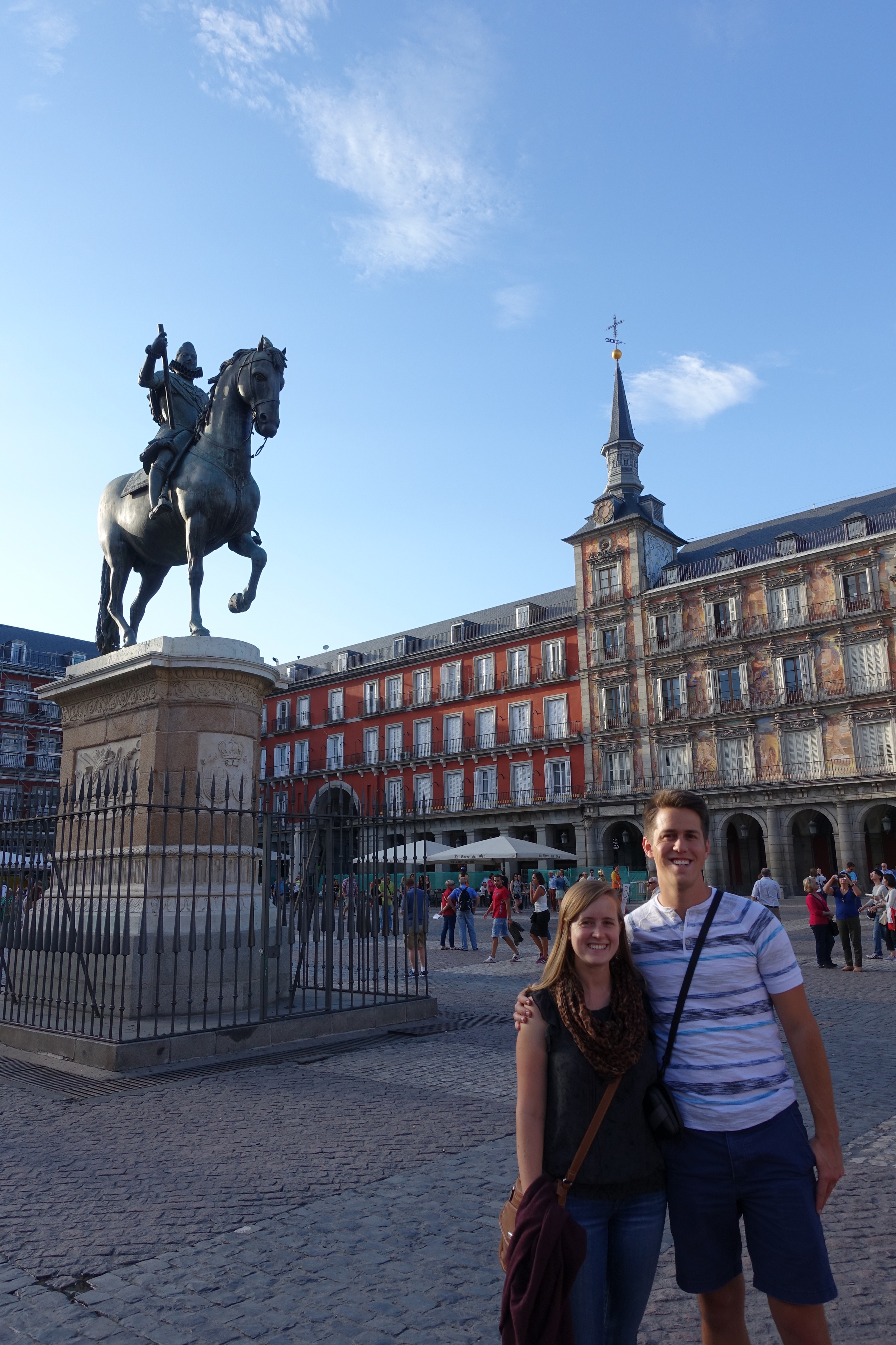 "Plaza Mayor on our first day in Madrid - can you see that ""we-haven't-slept-in-48-hours"" look on faces?"