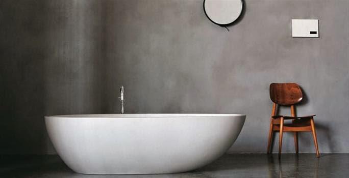 Vägg och golv med ytskikt av Microcement. Fogfritt och mjukt.Foto: 3.bp.blogspot.com