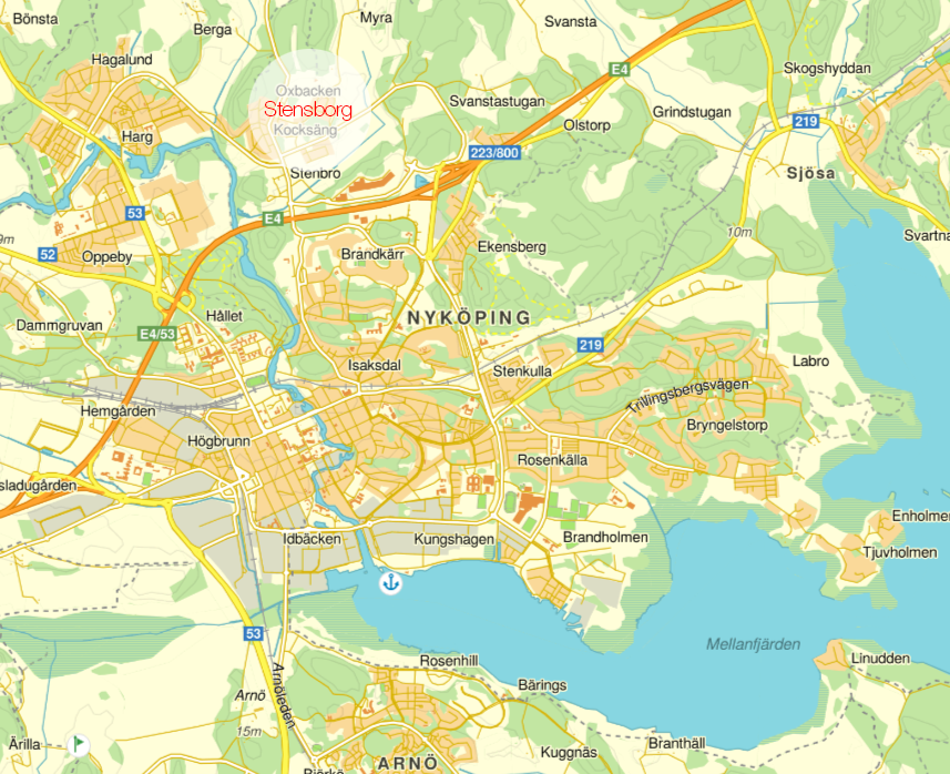 Karta över Nyköping med Stensborg där vår tomt ligger utmärkt.