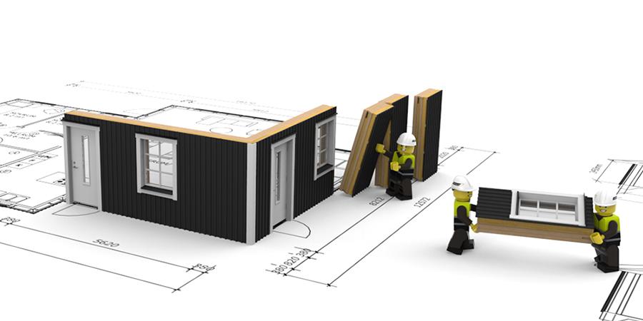 De små väggblocken Kustvillan bygger med ger stor frihet när man utformar sitt hus.