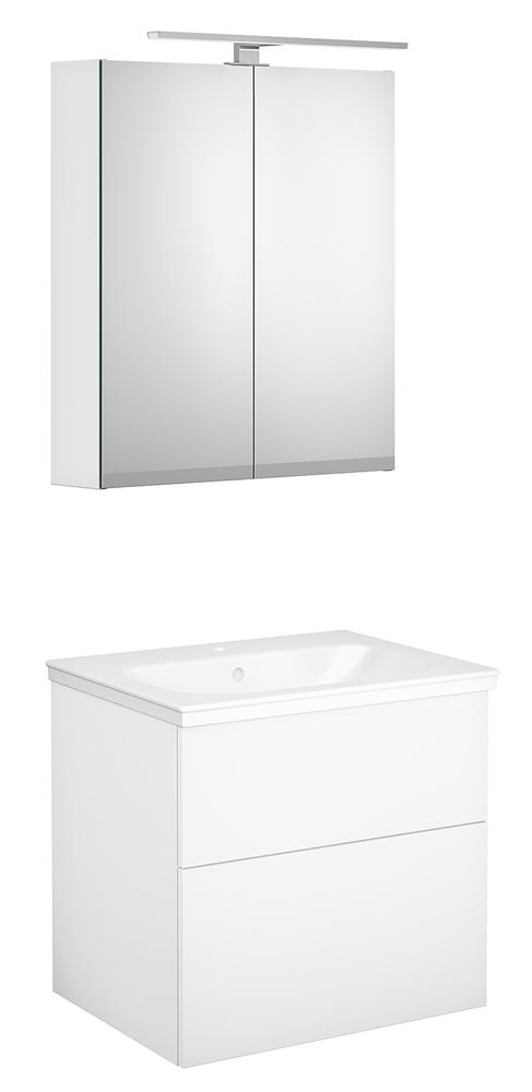 Gustavsberg Artic  spegelskåp med belysning både ovan och under. Kommoden i lilla badrummet blir 60 cm, i stora en dubbelmodell på 100 cm. I lilla har vi även ett högskåp i samma serie.