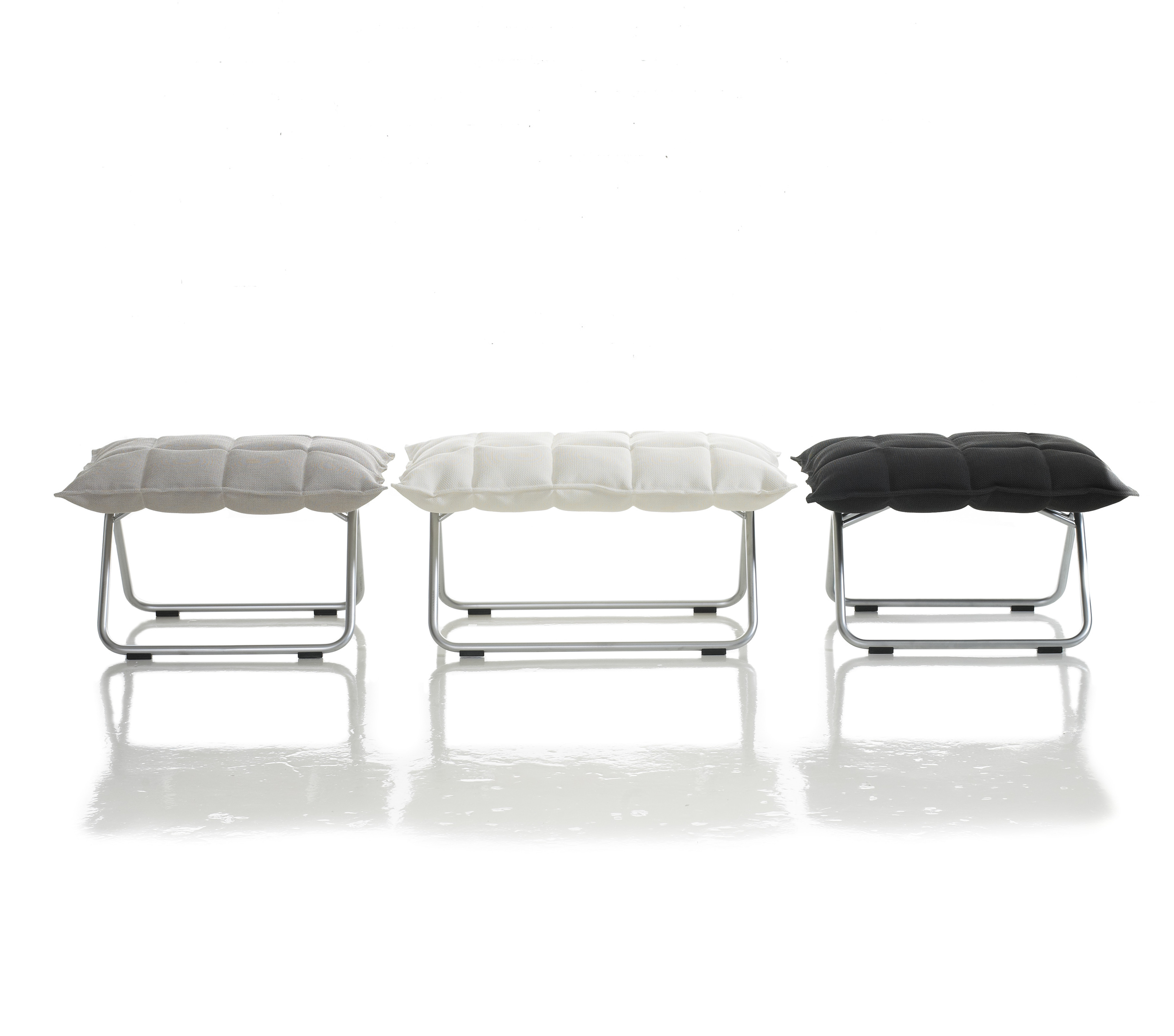 46013 Narrow k Ottomans and 46011 Wide k Ottoman, matt-chromed tubular frame