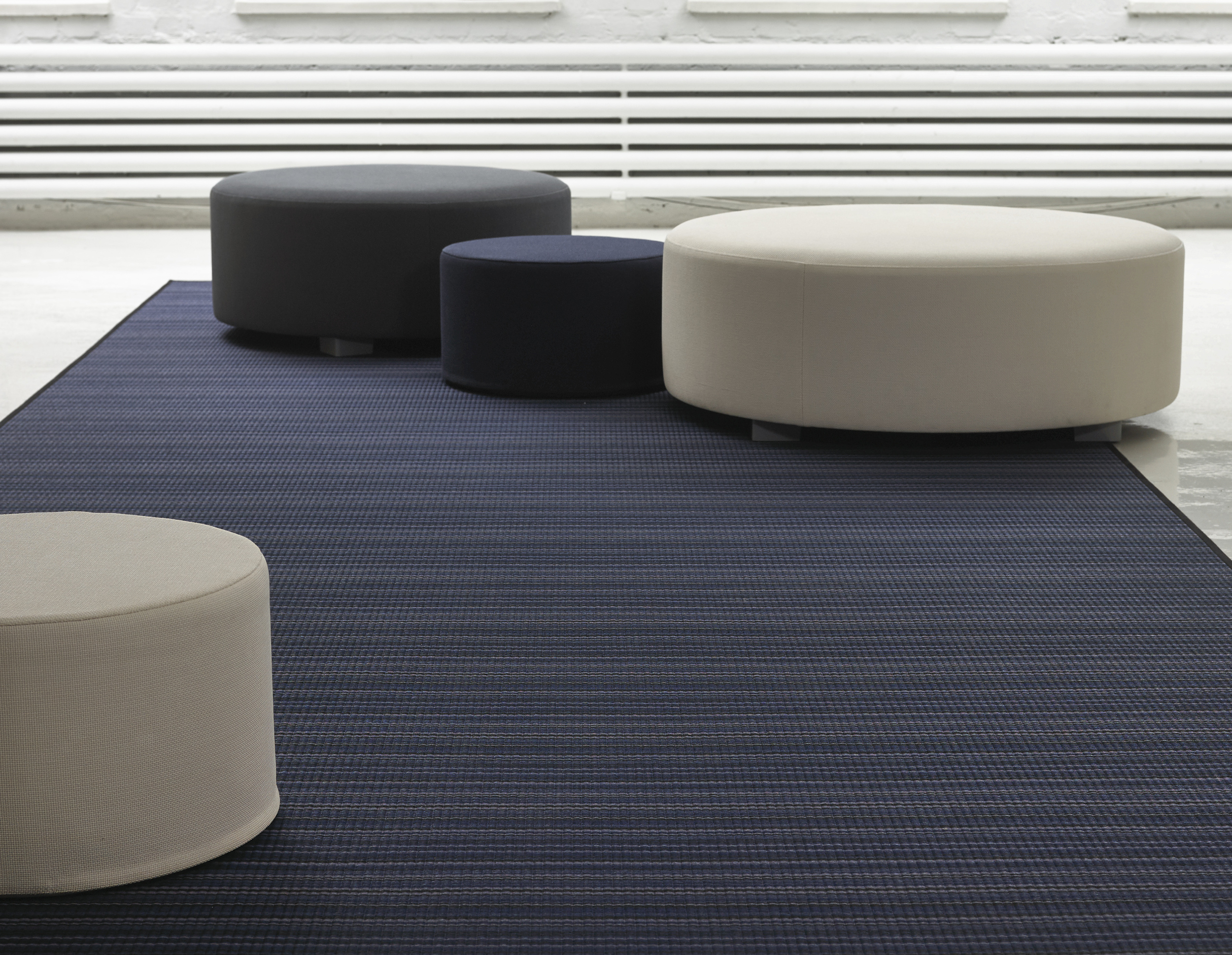 Round Benches with metal feet and Round Cool Cushions