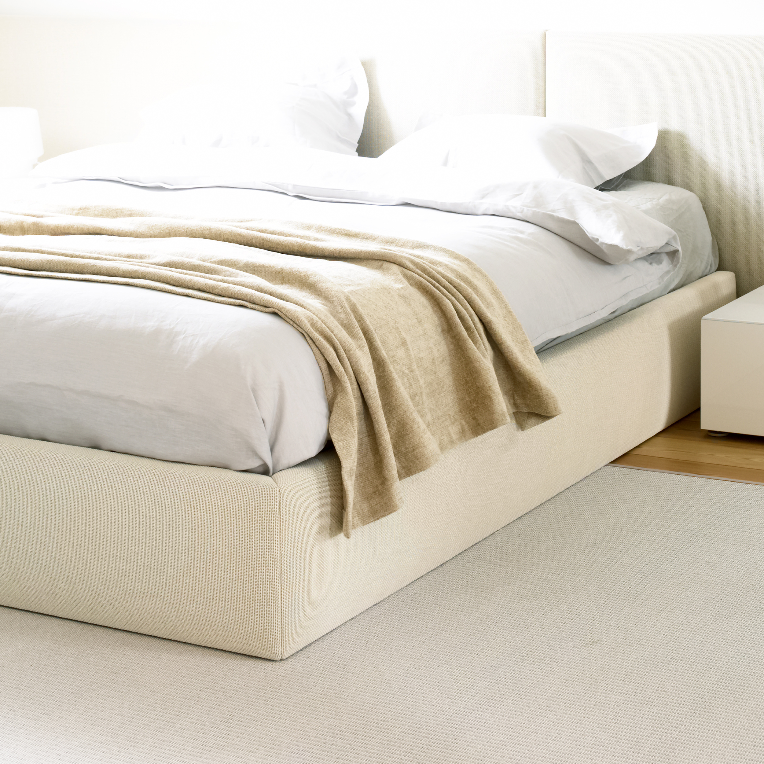 47005 Bed Frame, upholstered with Sand paper yarn cotton fabric