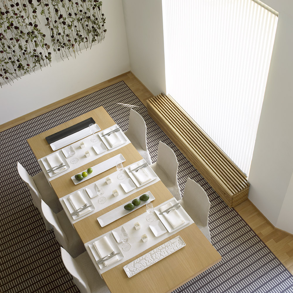 New York paper yarn carpet 1181615, Morning col. white 31111 table runners and Open Sky col. white 21211 roller blinds.