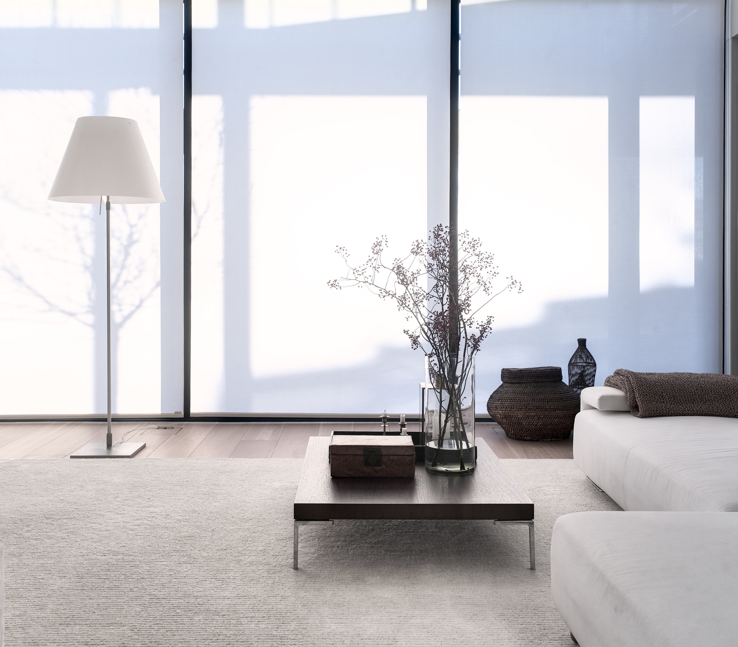 Roller blinds, 1630101  Path  white tufted carpet