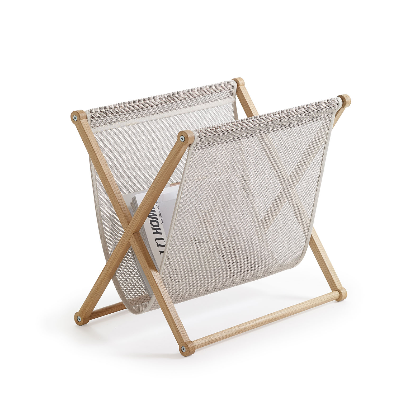 Magazine Rack 3690O1515 oak frame and stone bag