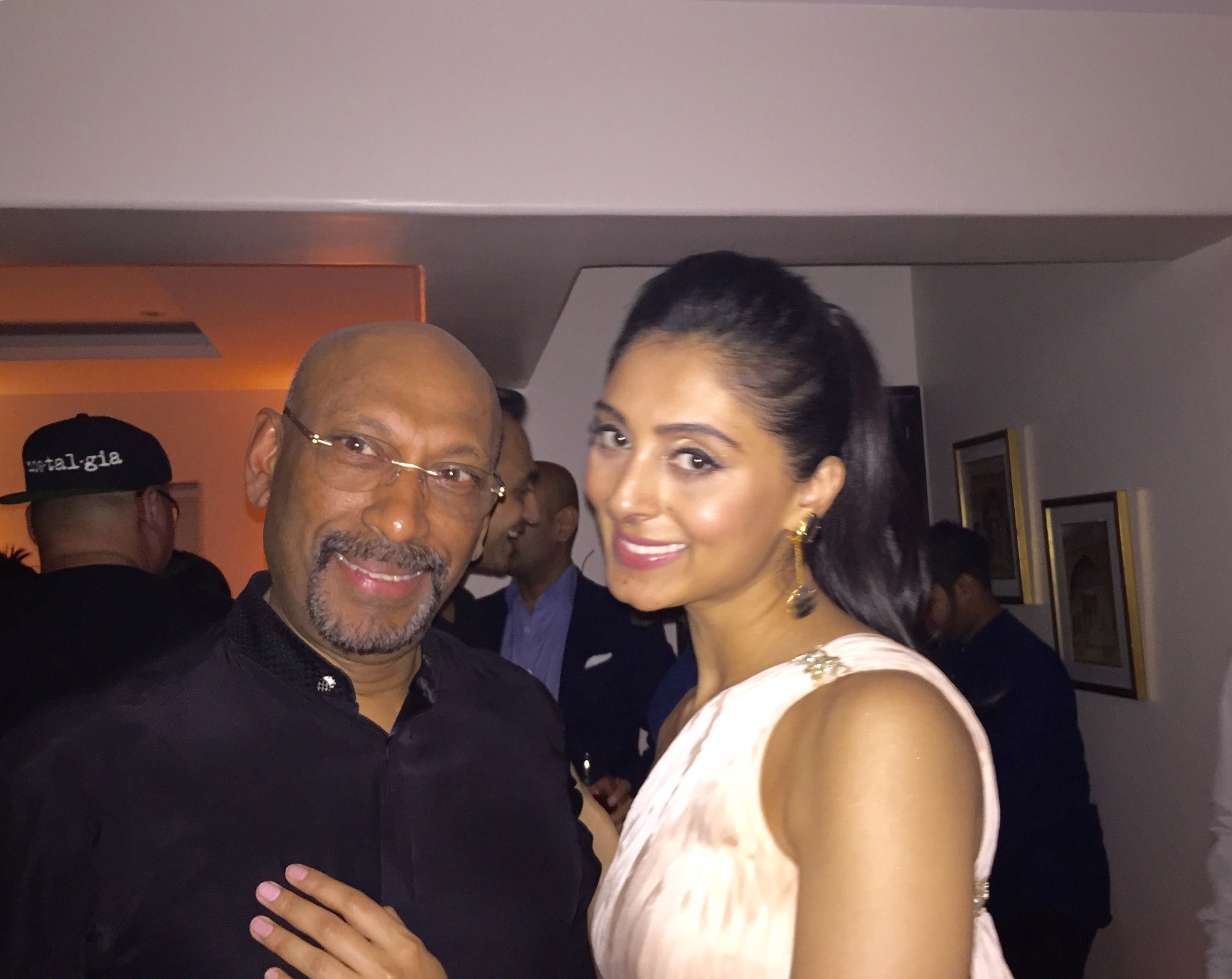 Andrew Ramroop with Bollywood actresses Perina Quresh during his recent visit to India.