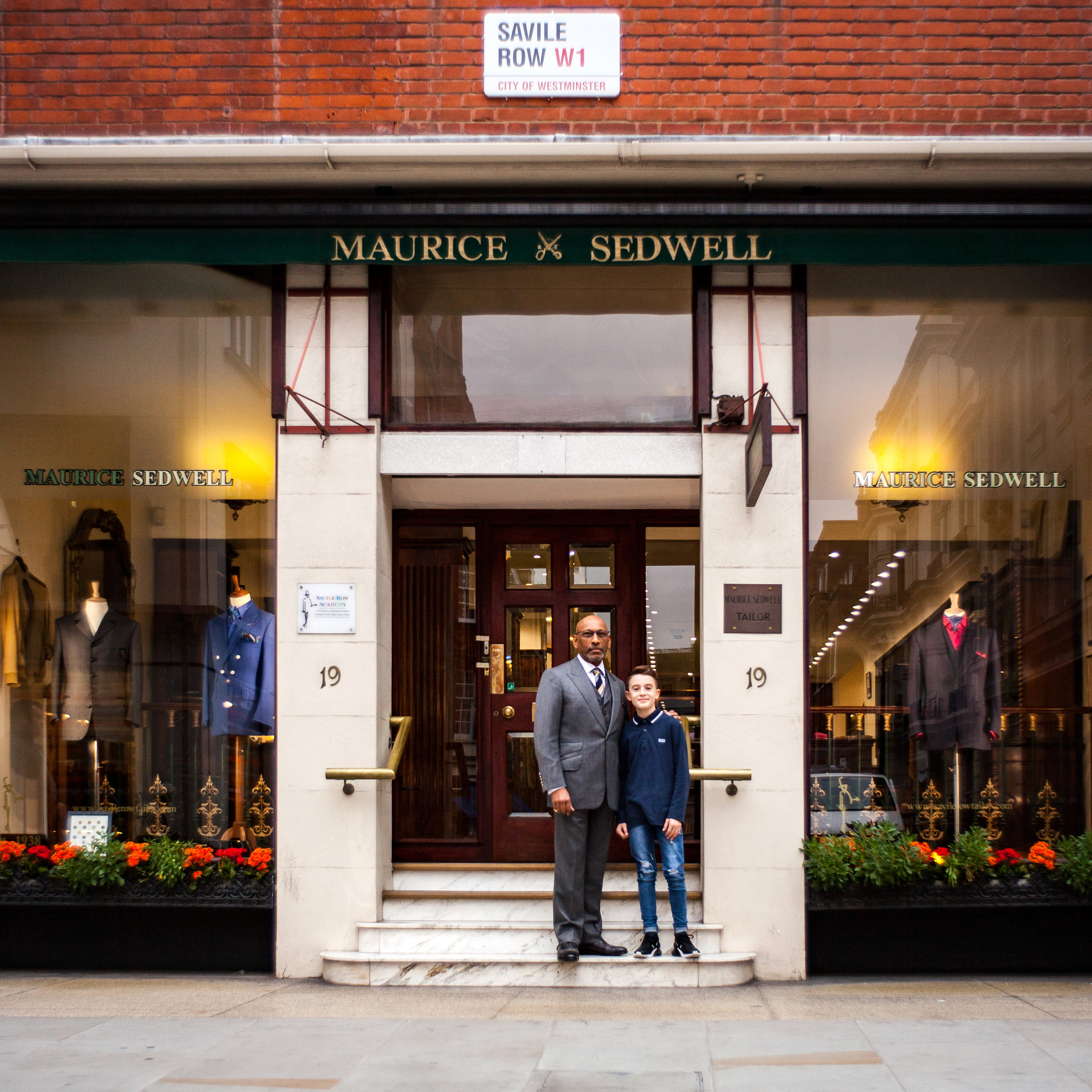 Andrew Ramroop OBE with Riccardo ahead of his final fitting.