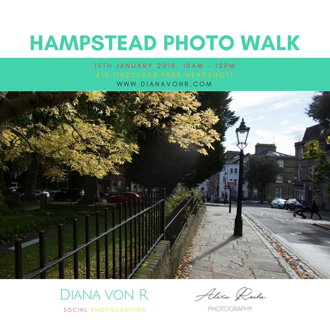 photo walk or mini session - Join me and Alexa Roche on a photo walk around Hampstead Village. For £10, you also receive a free headshot.If you would like to sign up for alerts to mini shoots I organise throughout the year, please fill in the form on the Hampstead photo walk page.
