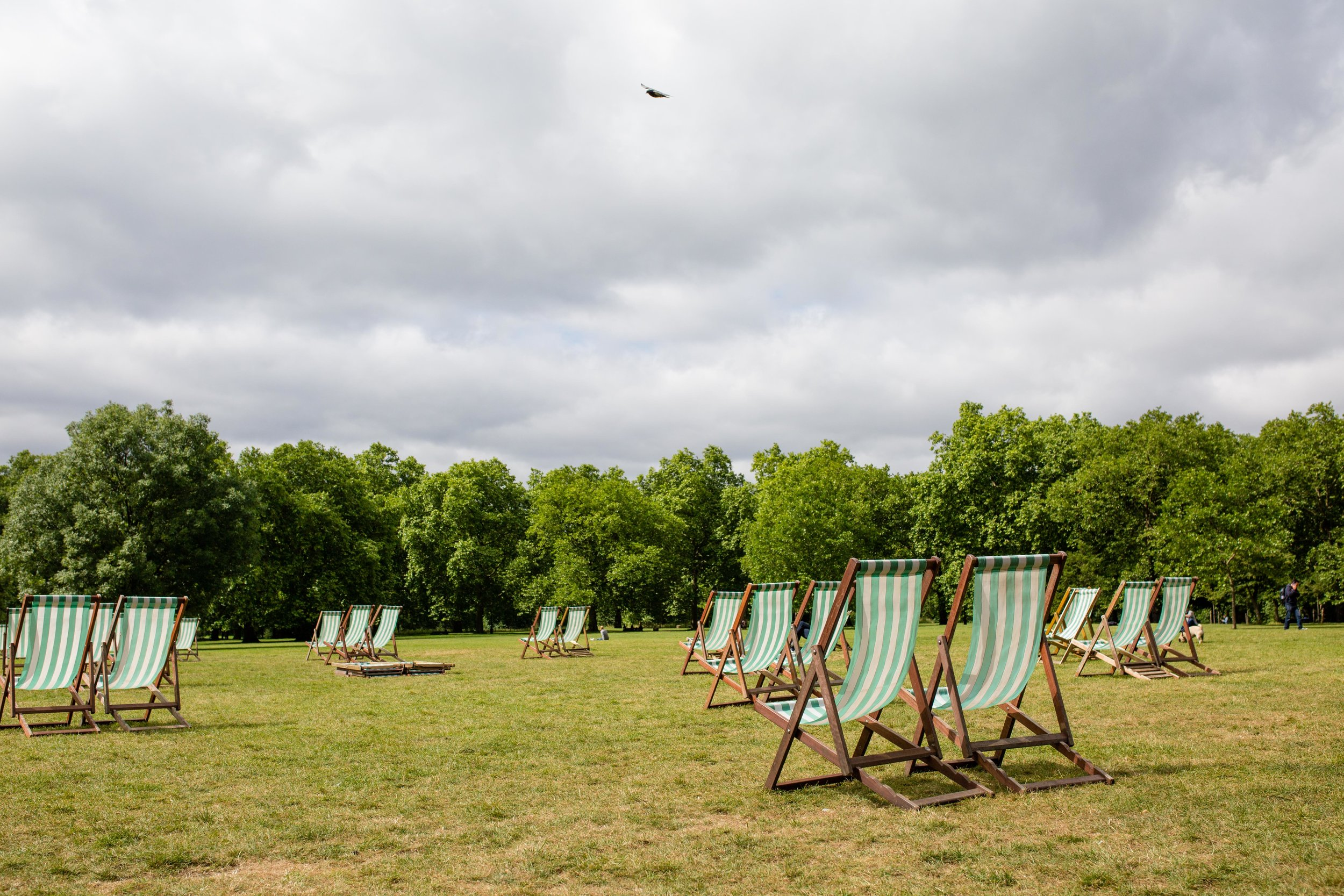 Deck chairs at the ready in Green Park
