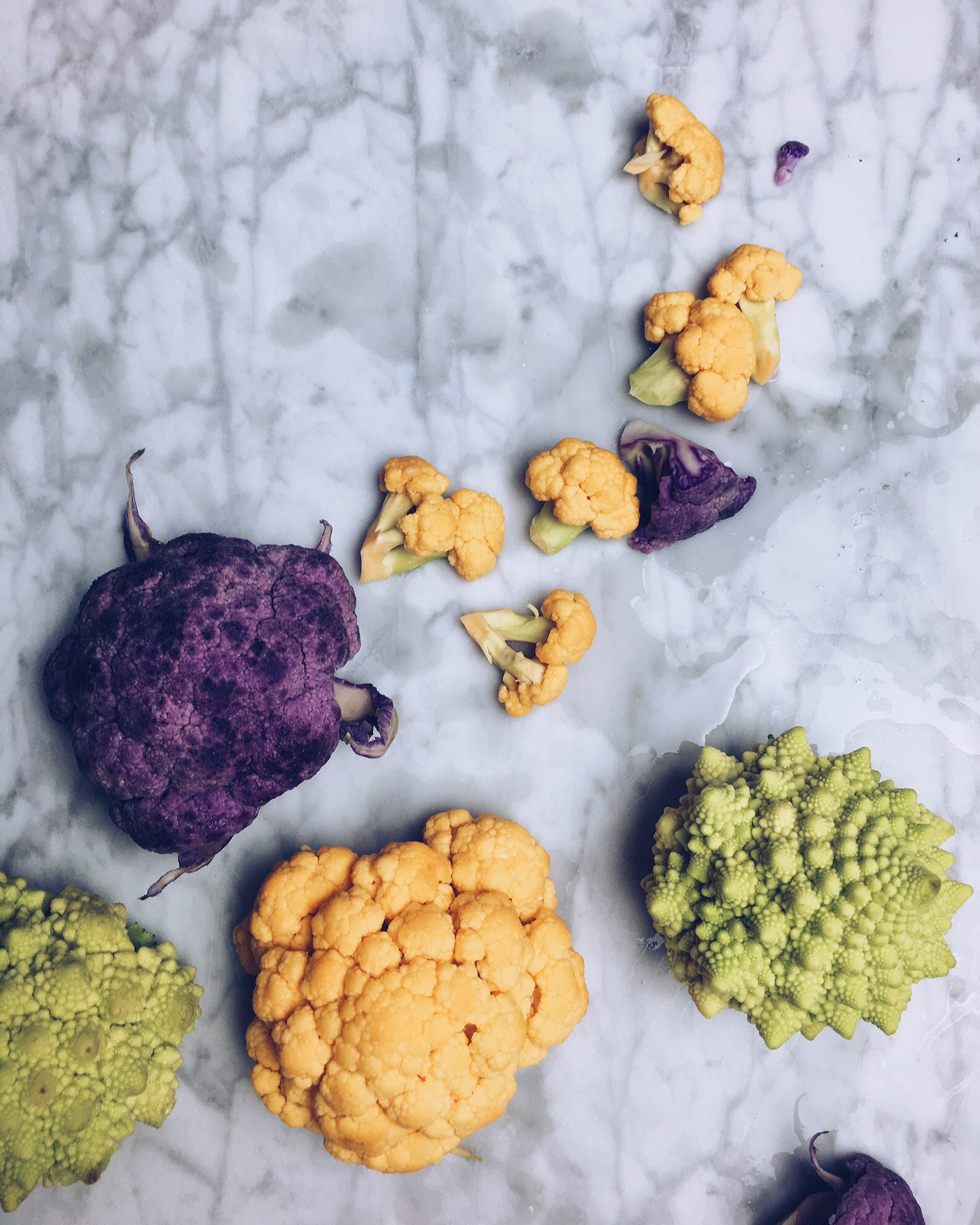 These color cauliflowers were in season, and cooks a lot faster so the texture remains without falling apart.