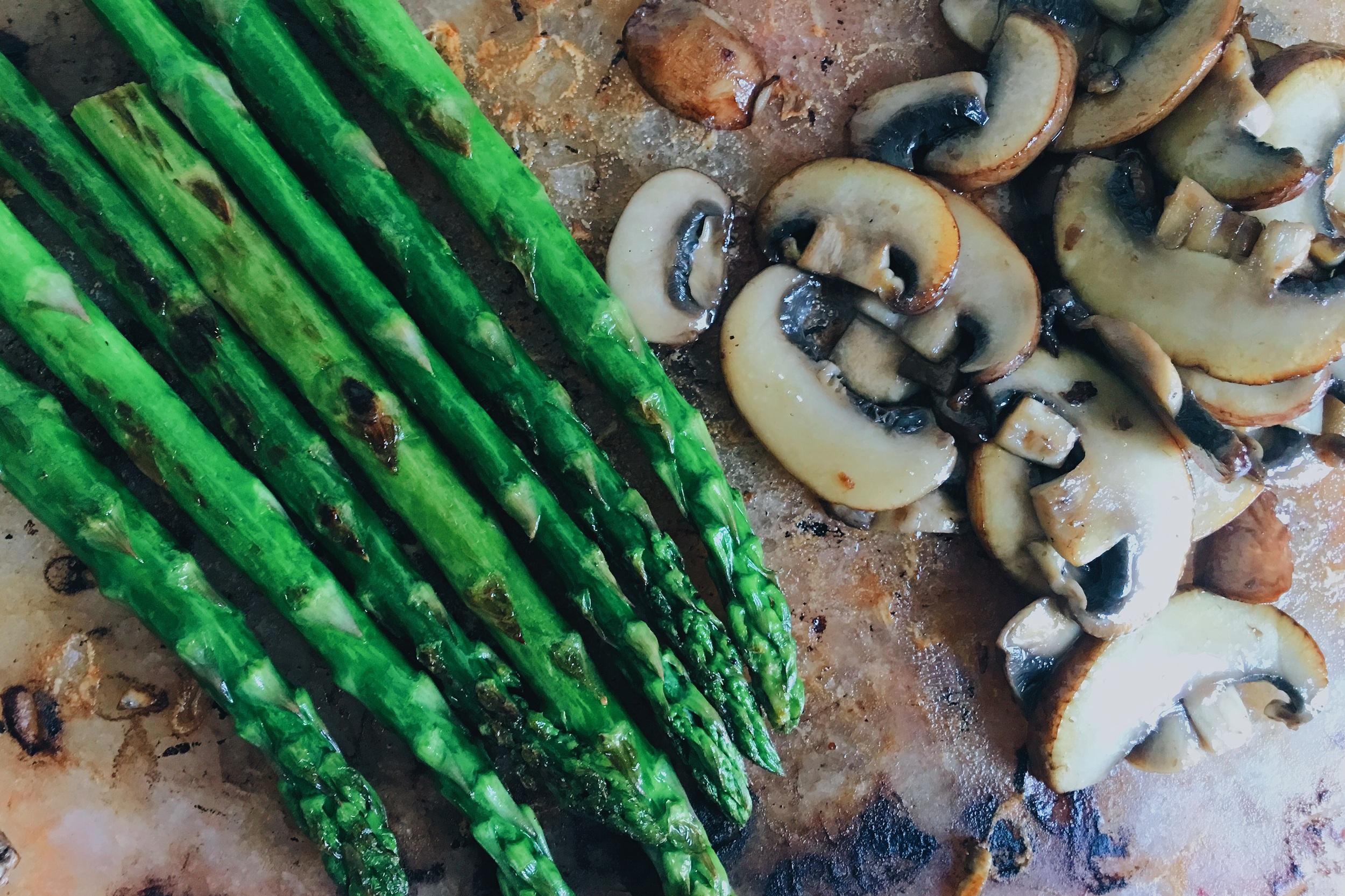 Asparagus and mushroom on Himalyan salt block