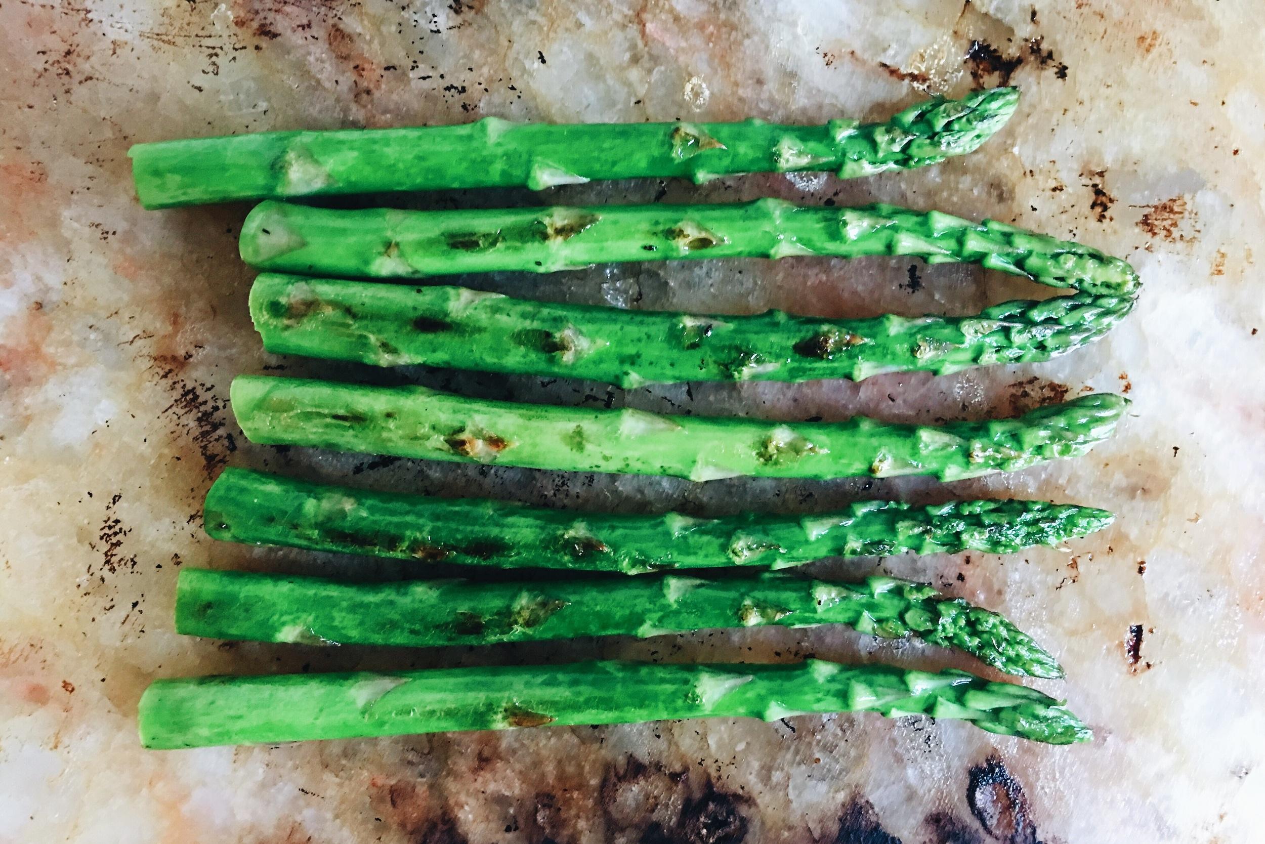 Asparagus on Himalyan salt block